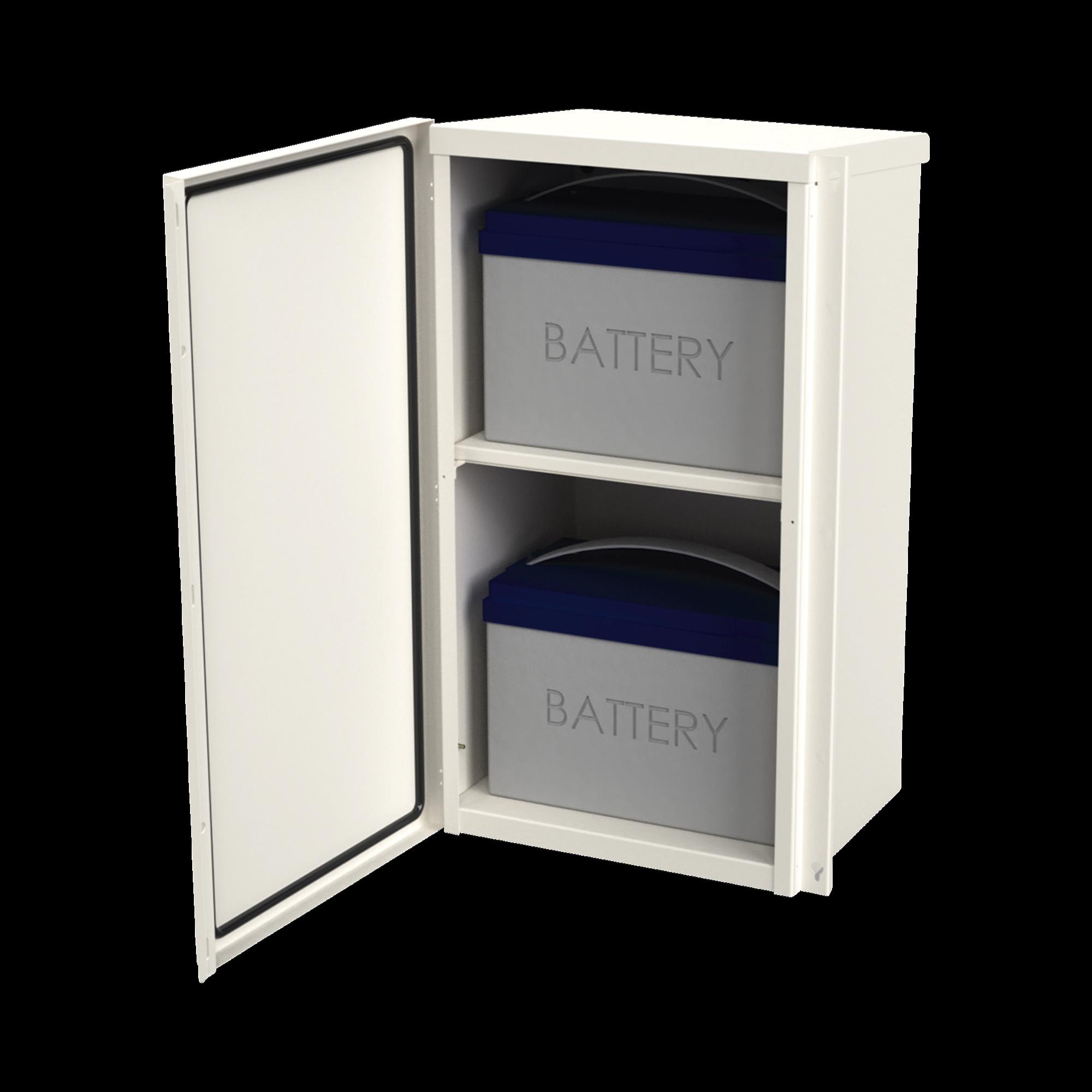 Gabinete Acero Galv. para 2 Baterías PL110D12  (400 x 730 x 300mm). Puerta Sin Ventilación. Acc. para piso o poste No incluidos.