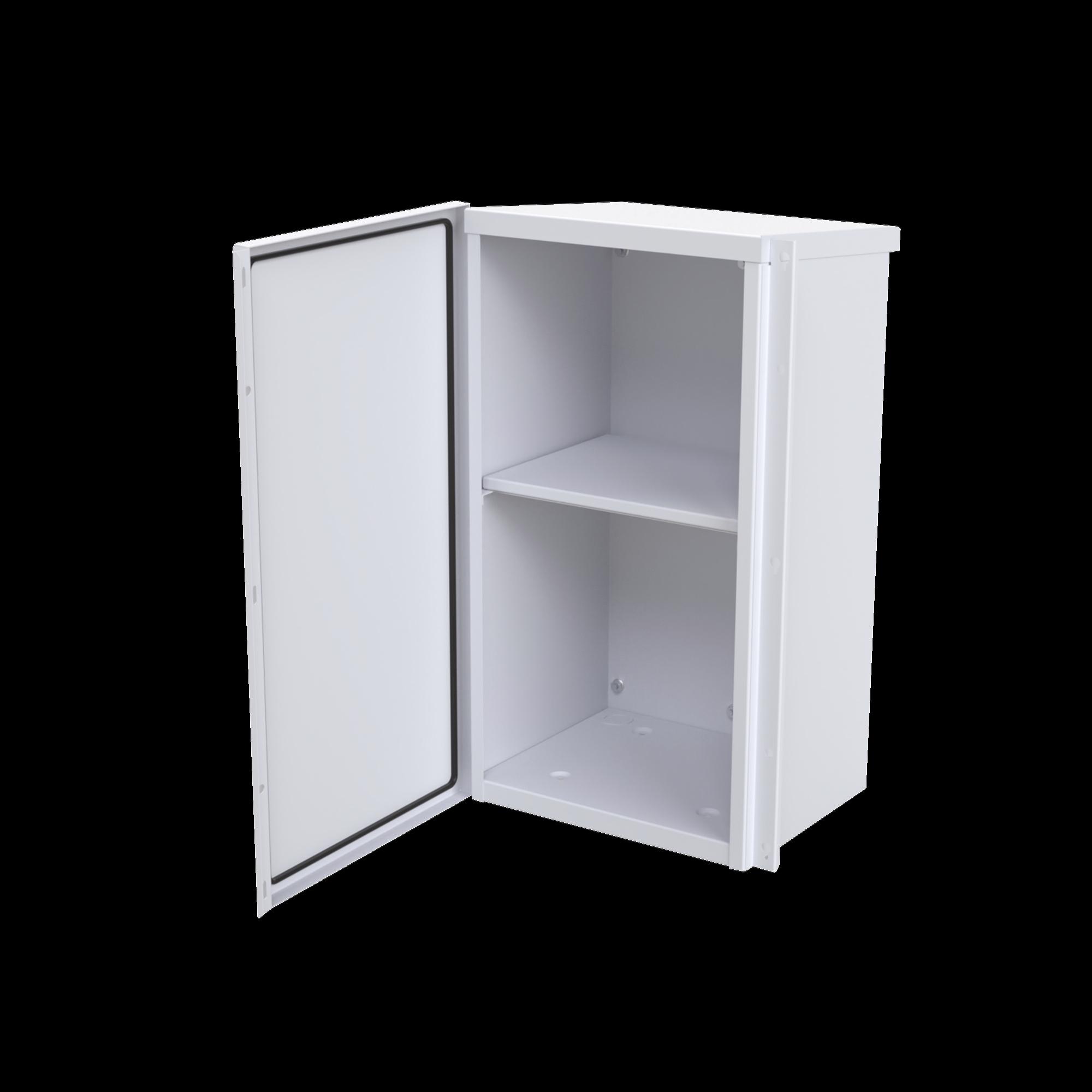 Gabinete Acero Galv. para 2 Baterias PL110D12  (400 x 730 x 300mm). Puerta Sin Ventilacion. Acc. para piso o poste No incluidos.