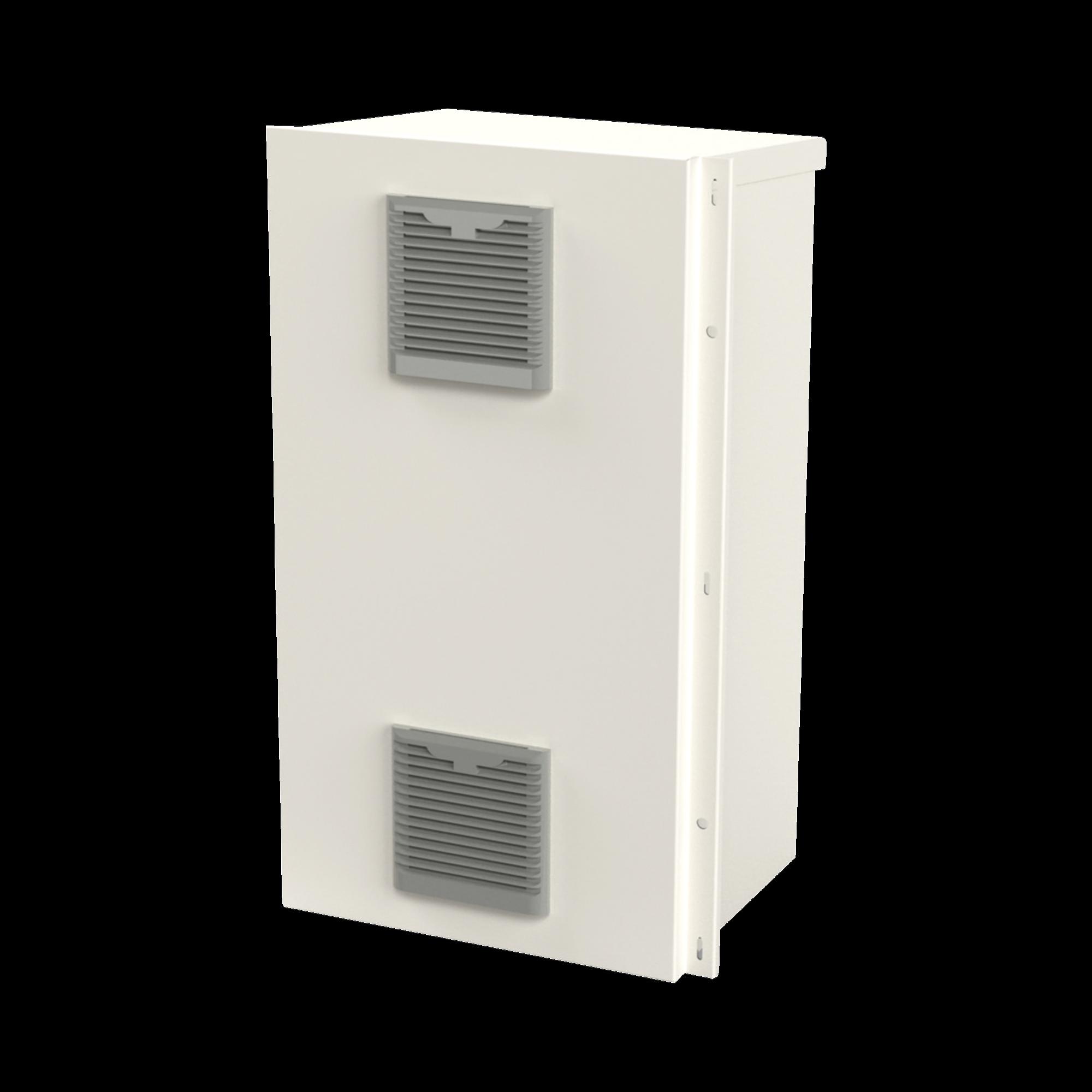 Gabinete Acero Galv. para 2 Baterías PL110D12  (400 x 730 x 300mm). Puerta Ventilada. Acc. para piso o poste No incluidos.
