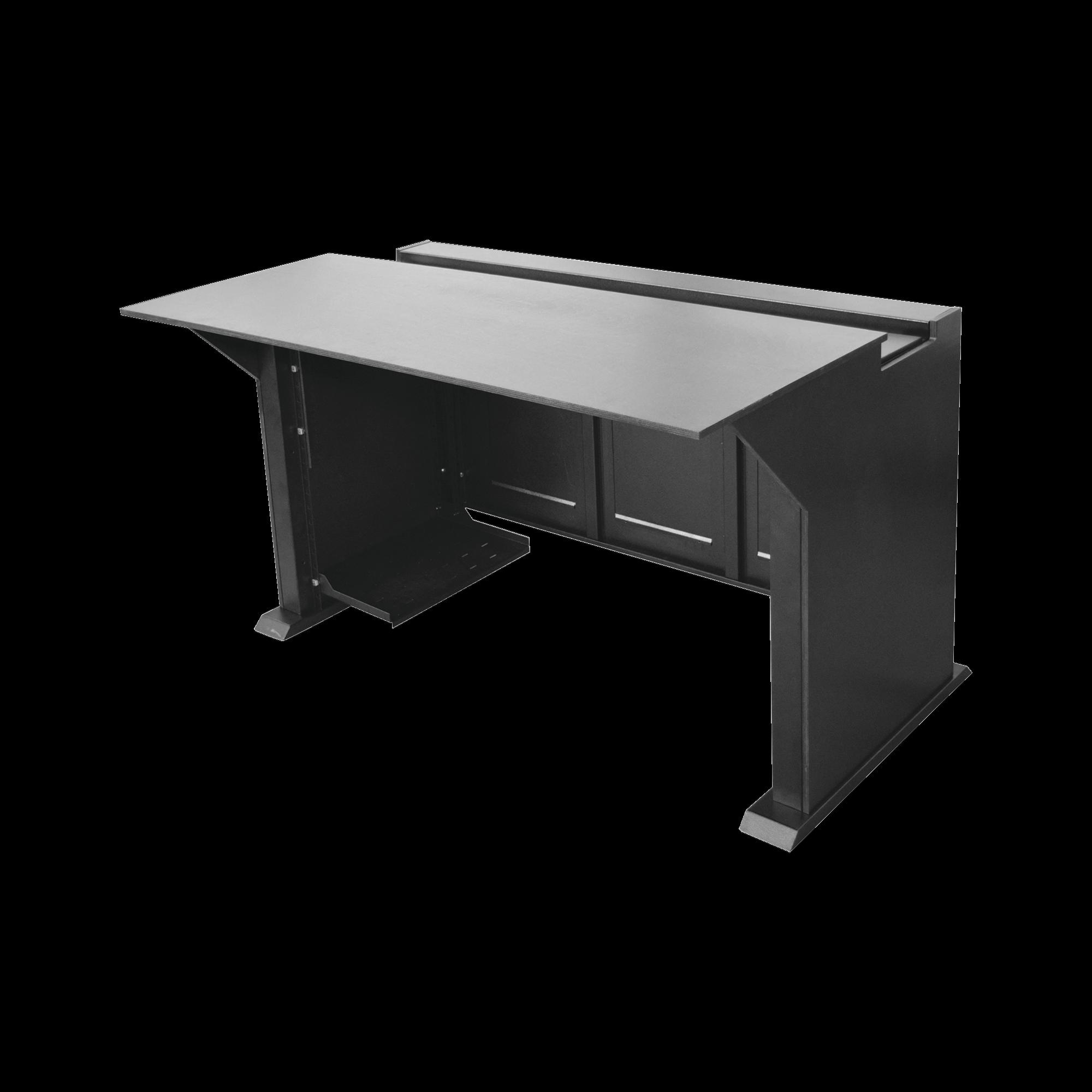 Estacion Mobiliaria Profesional de Monitoreo y Control para: Videovigilancia, Acceso, Alarmas, etc., Metal Negro y Madera Tono Oscuro