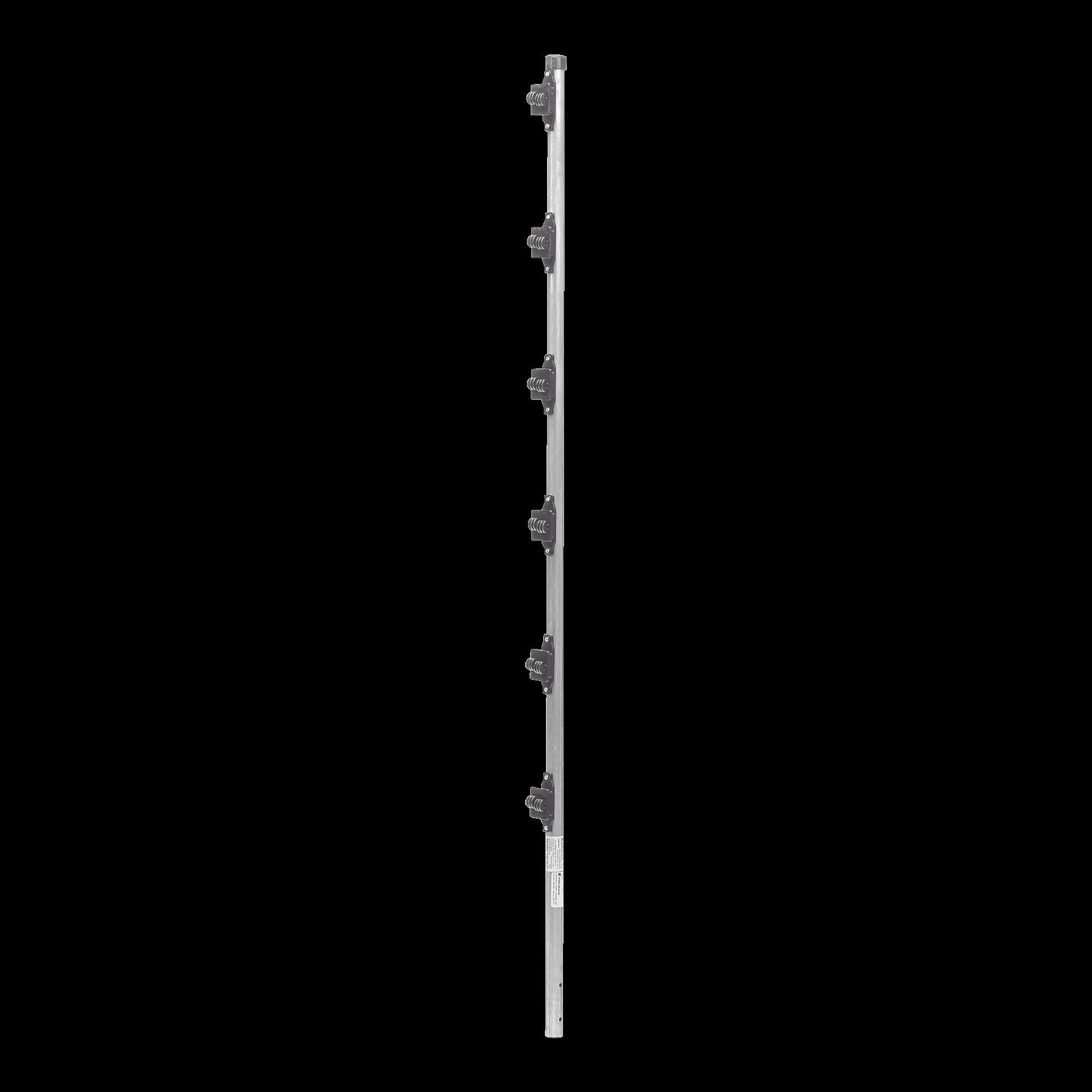 Poste con 6 Aisladores de PASO  para Cerca Electrificada. Tubo Galva. de 1.5m, cal. 18 de 1 Diam. (Sin pintar).