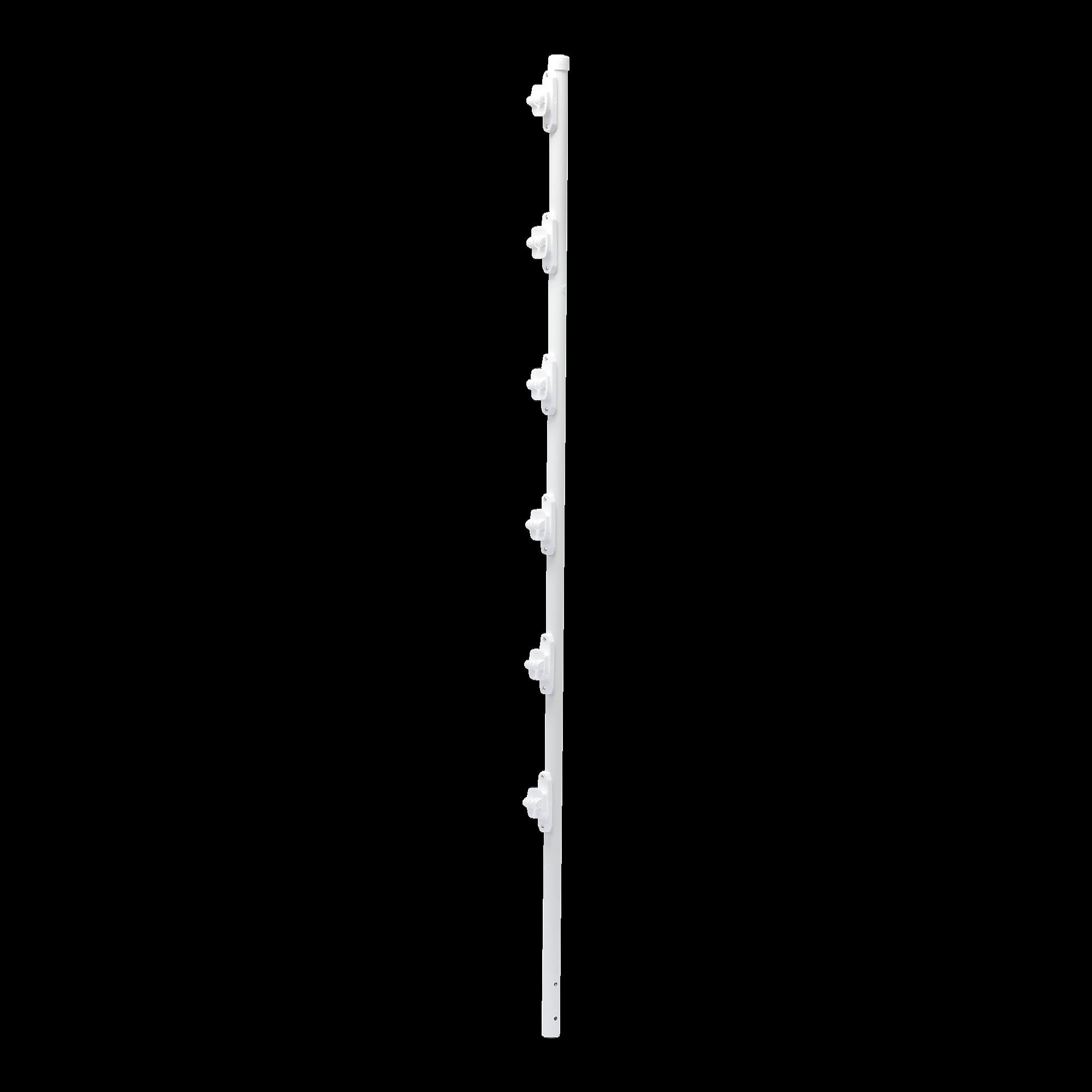 Poste con 6 Aisladores de PASO  para Cerca Electrificada. Tubo Galva. de 1.5m, cal. 18 de 1 Diam. + Pintura Blanca.