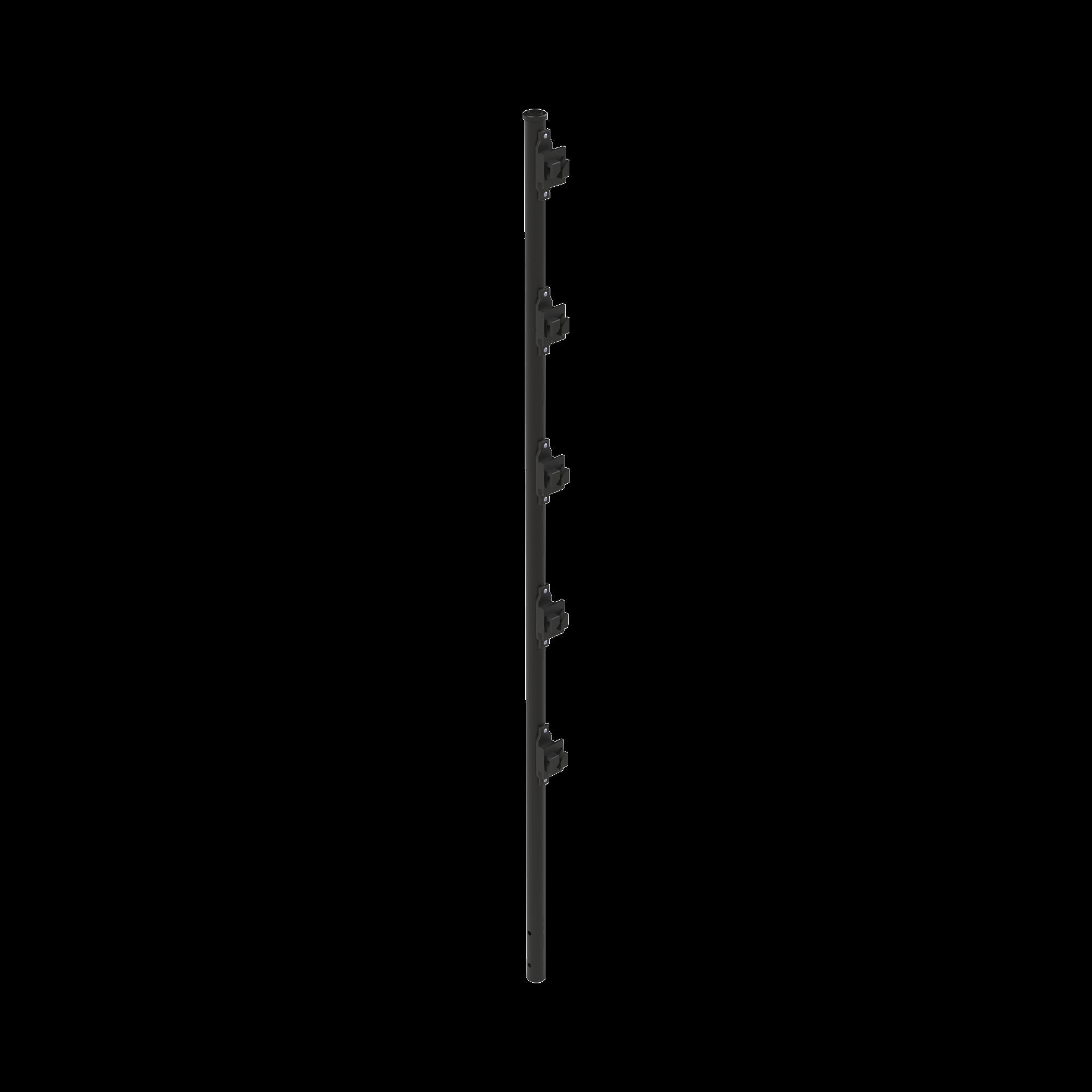 Poste con 5 Aisladores de PASO  para Cerca Electrificada. Tubo Galvanizado de 1.2m, cal. 18 de 1 Diam. + Pintura Negra Aplicación en Polvo.