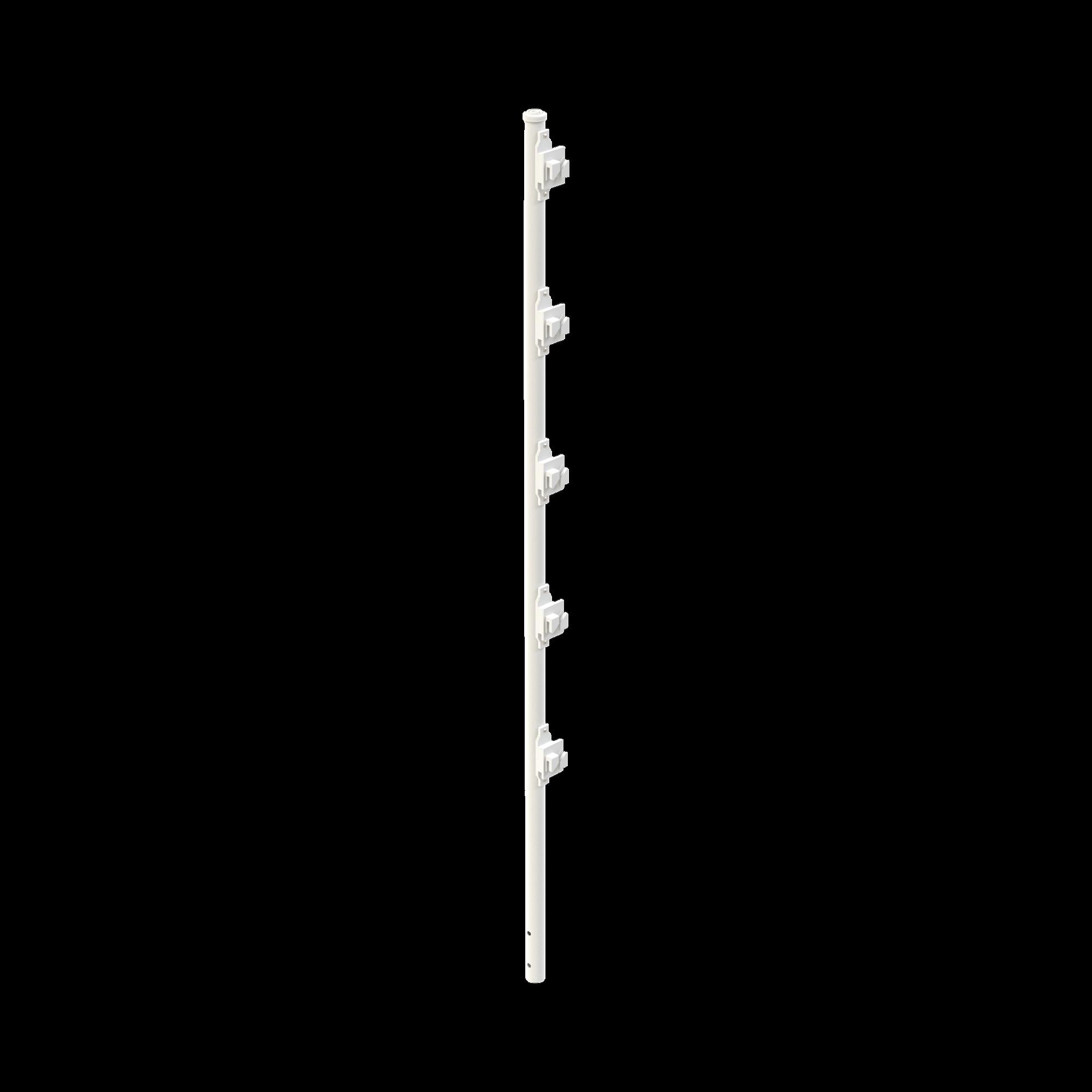 Poste con 5 Aisladores de PASO  para Cerca Electrificada. Tubo Galvanizado de 1.2m, cal. 18 de 1 Diam. + Pintura Blanca Aplicación en Polvo.