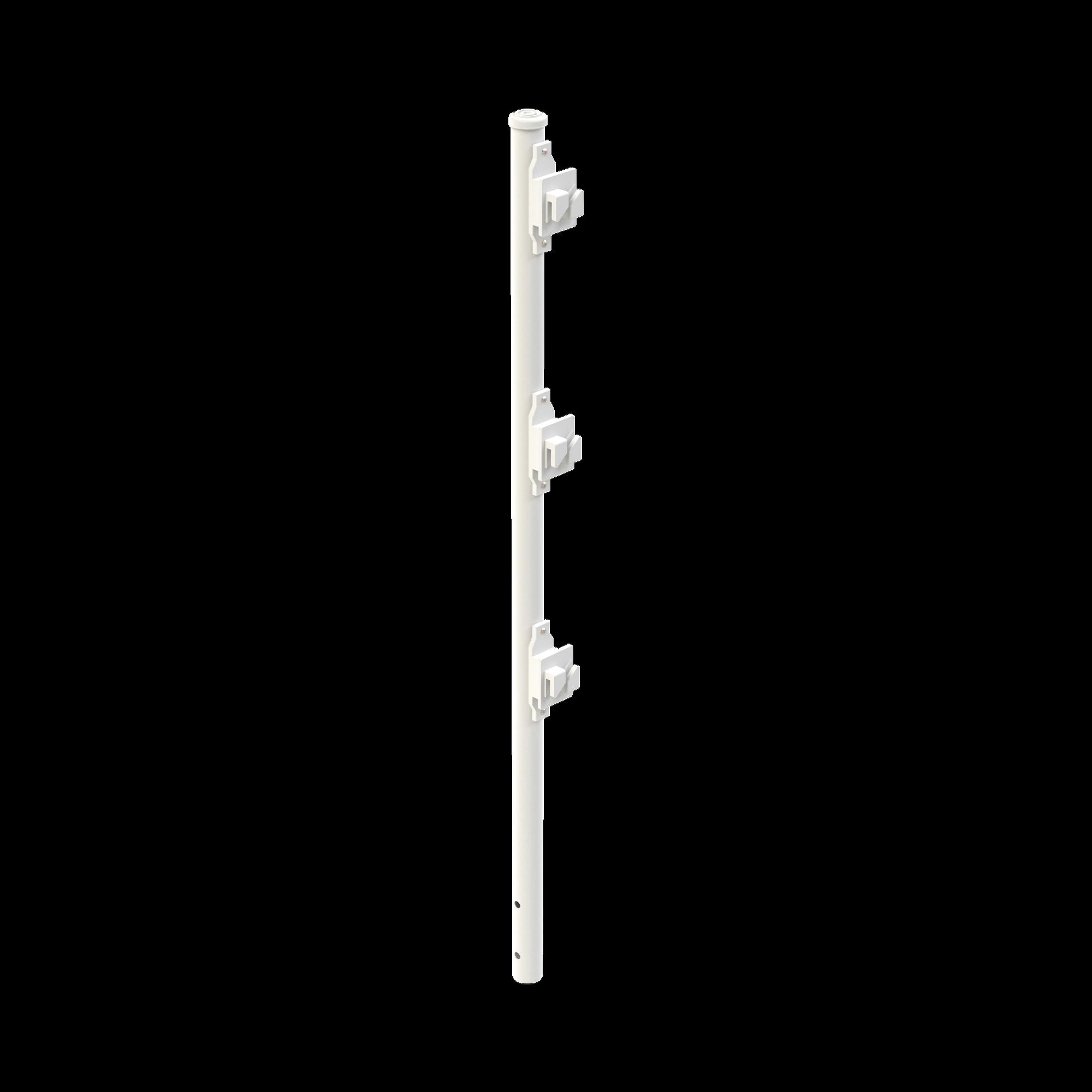 Poste de Paso Blanco de 0.8m para Cerca Electrificada. Tubo Galvanizado cal. 18 de 1Diam. con Tapón y 3 Aisladores Instalados.