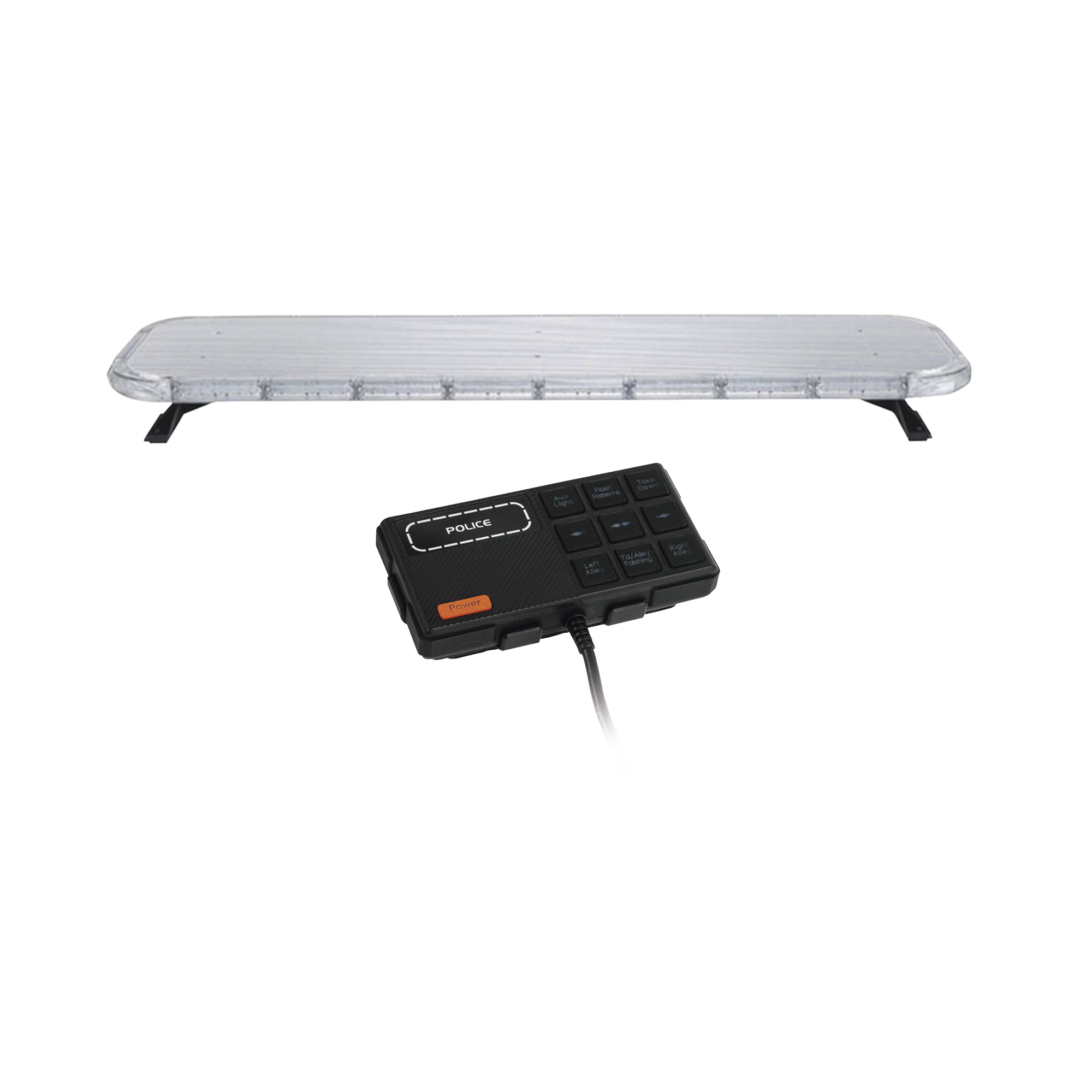 Barra de luces LED de 47 Rojo/Azul/Ambar , De 132 LEDs, Controlador Incluido, Ideal para Equipar Unidades de Seguridad Publica