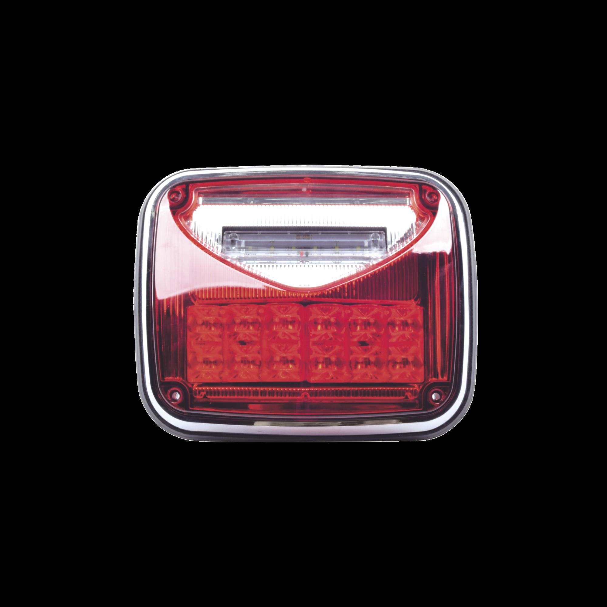 Luz de advertencia color Rojo, con luz de trabajo color Claro 8X 6