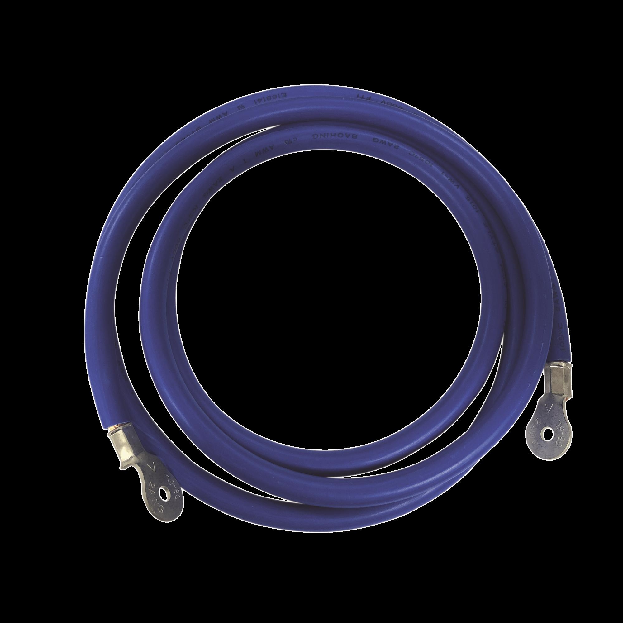 Cable para Baterías,  2.2 m Azul Calibre 2 AWG con Terminales de Ojo en Ambos Extremos