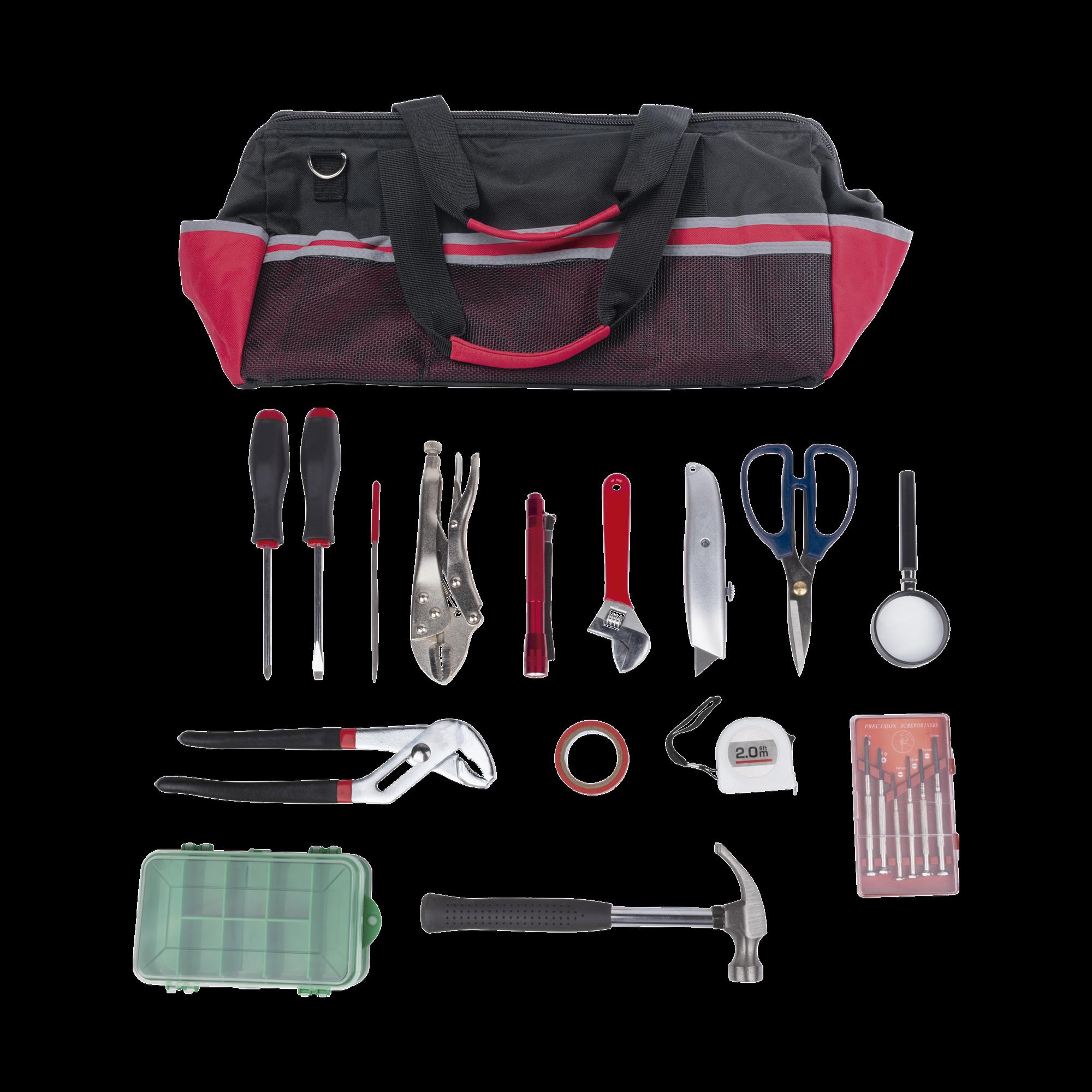 Kit de herramientas de reparacion con 15 piezas, incluye maleta de herramientas.