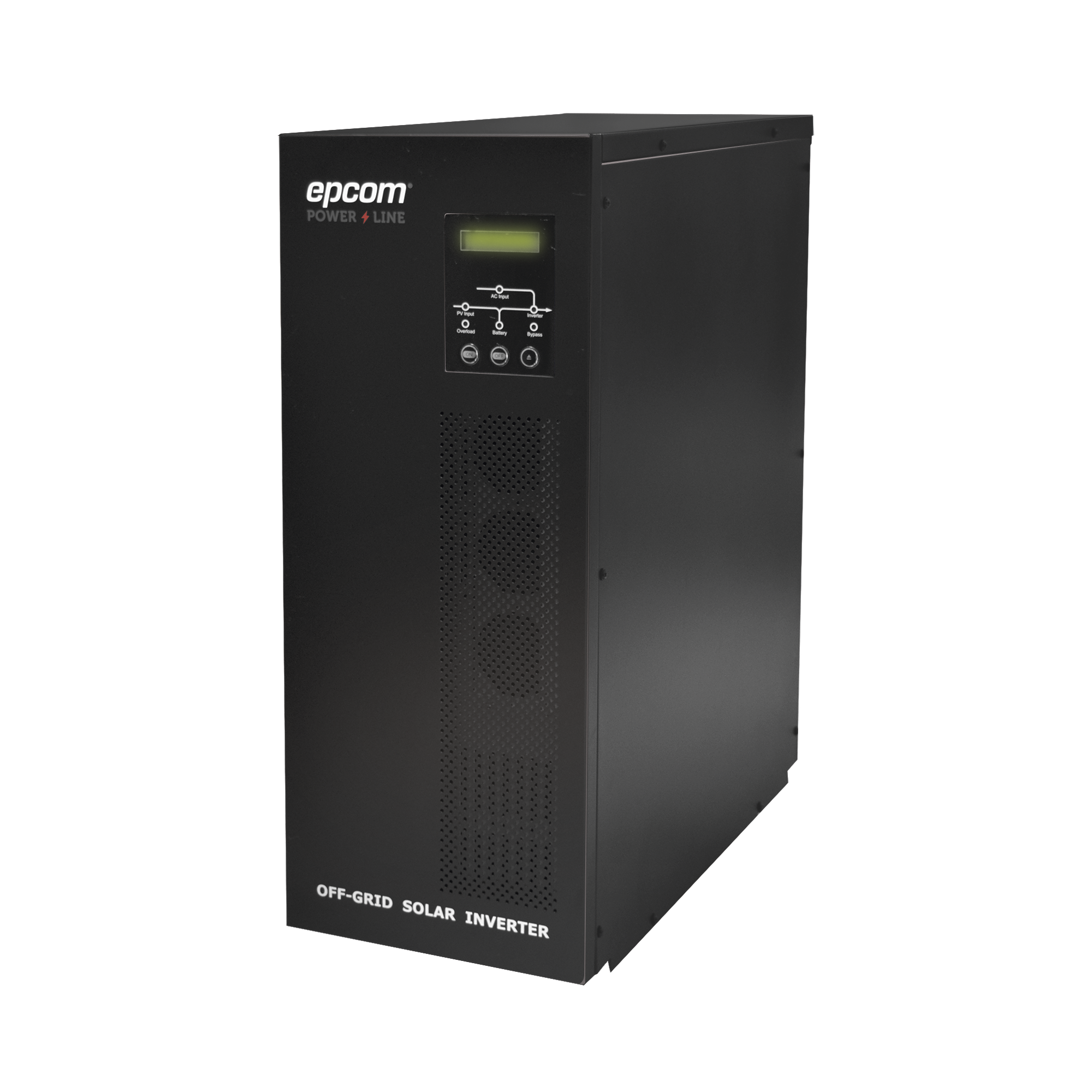 Inversor / Cargador para sistemas tipo isla de 192VCD/120VCA de 3000W onda sinusoidal pura con controlador MPPT. Administre una fuente fotovoltaica, la red eléctrica y recargue su banco de baterías y su consumo sin problemas.