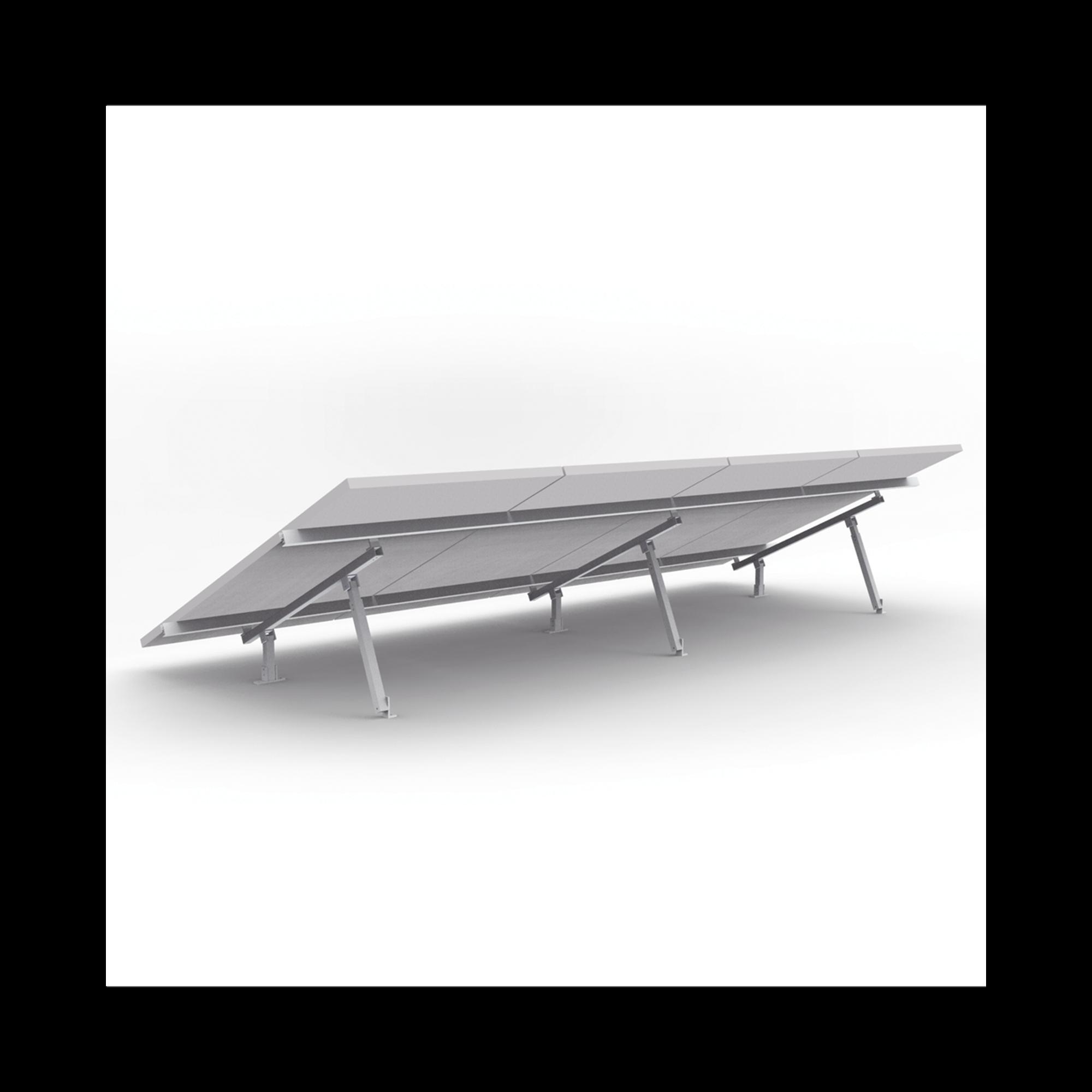 Montaje de aluminio para techo o piso de concreto,  de alta resistencia y rápida instalacion para arreglo 1x4 modulos fotovoltáicos de 40mm de espesor