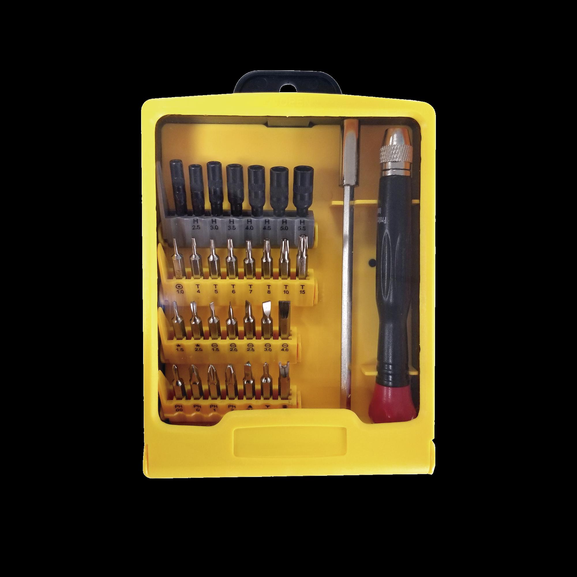 Juego de 31 Destornilladores de Precisión (puntas) con Mango y Extensor.