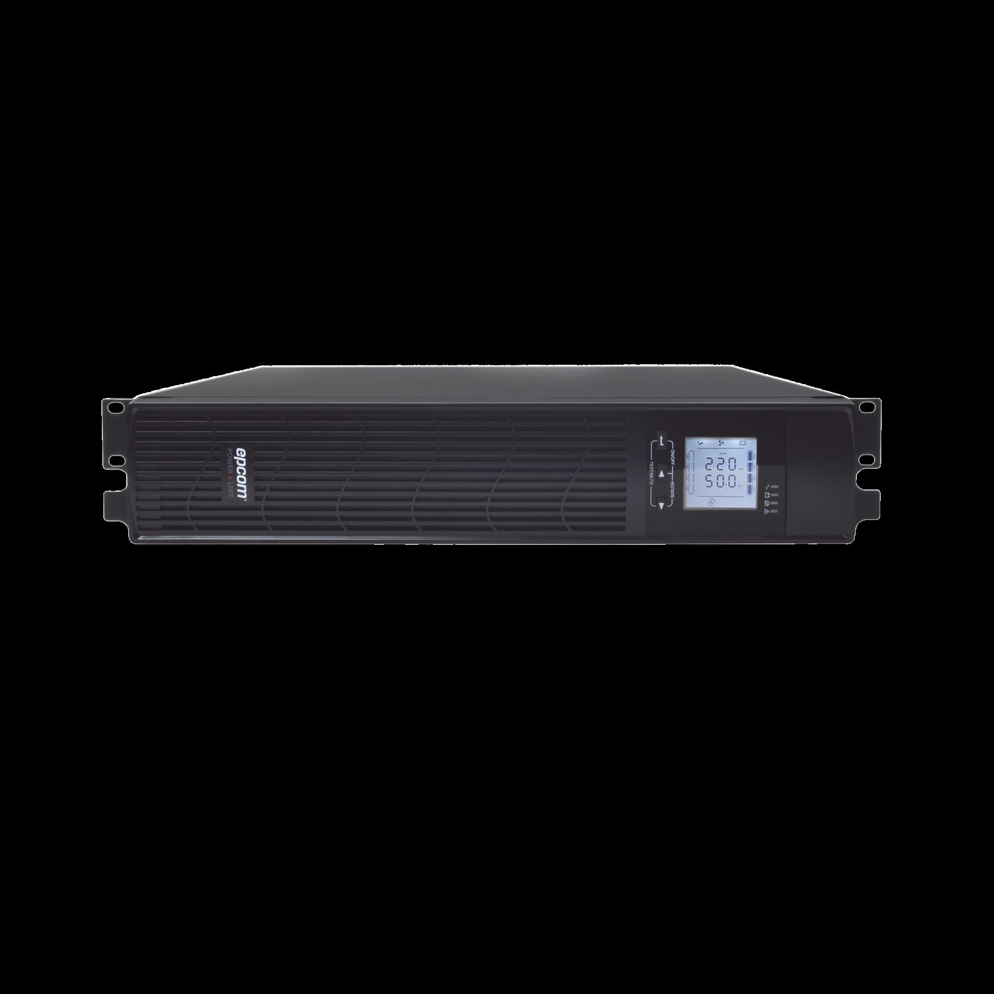 UPS de 1000VA/900W / Topología On-Line Doble Conversión / Entrada y Salida de 120 Vca / Clavija de Entrada NEMA 5-15P / Pantalla LCD Configurable /Formato Rack/Torre