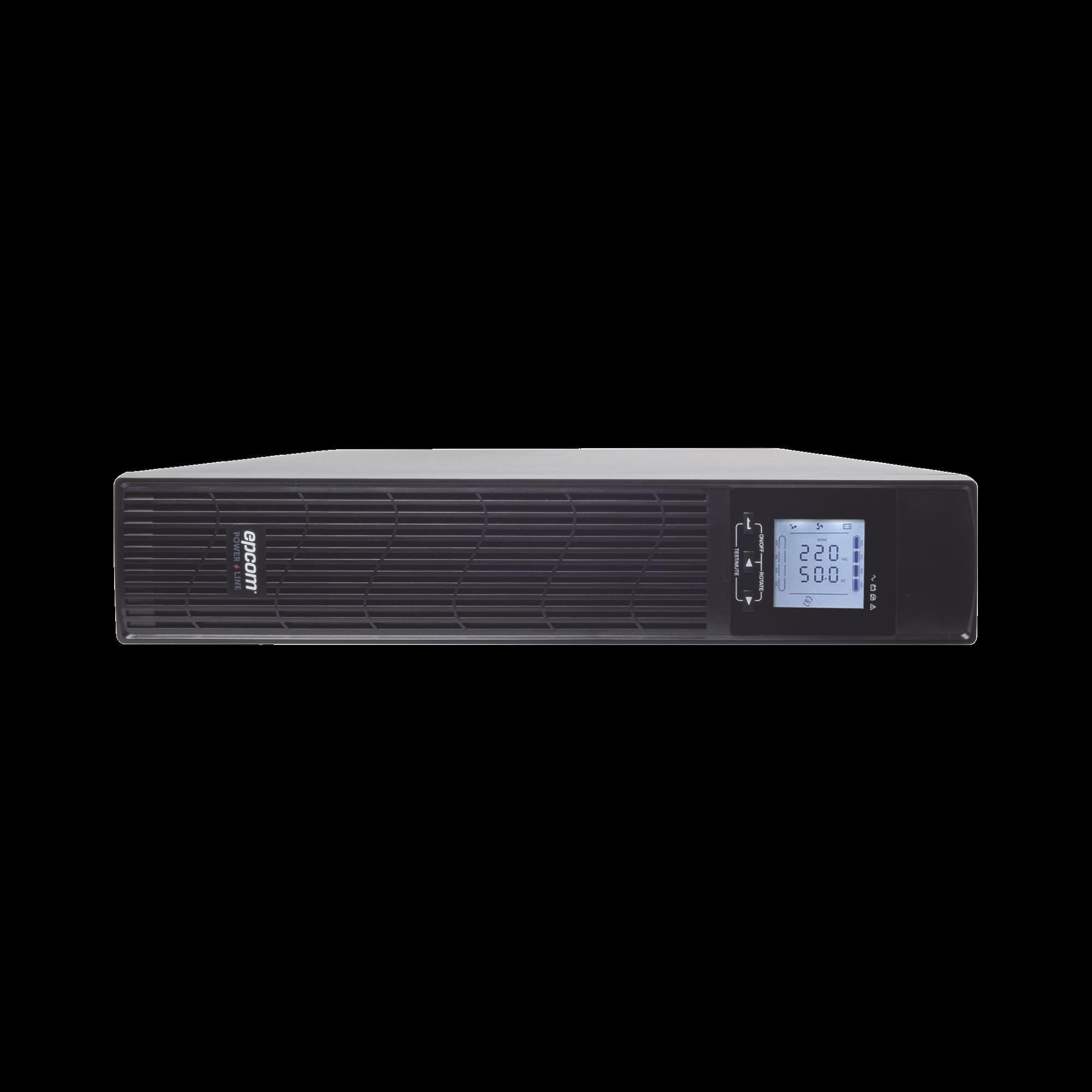 UPS de 3000VA/2700W / Topología On-Line Doble Conversión / Entrada y Salida de 120 Vca / Clavija de Entrada NEMA 5-30P / Pantalla LCD Configurable / Formato Rack/Torre