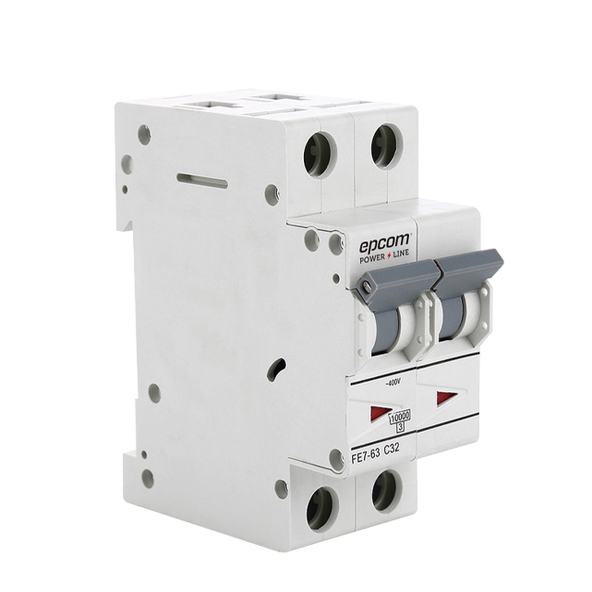 Protección Térmica 2P, 10 A,  Corriente Alterna  400 Vca para Aplicación Fotovoltaica Montaje Riel DIN