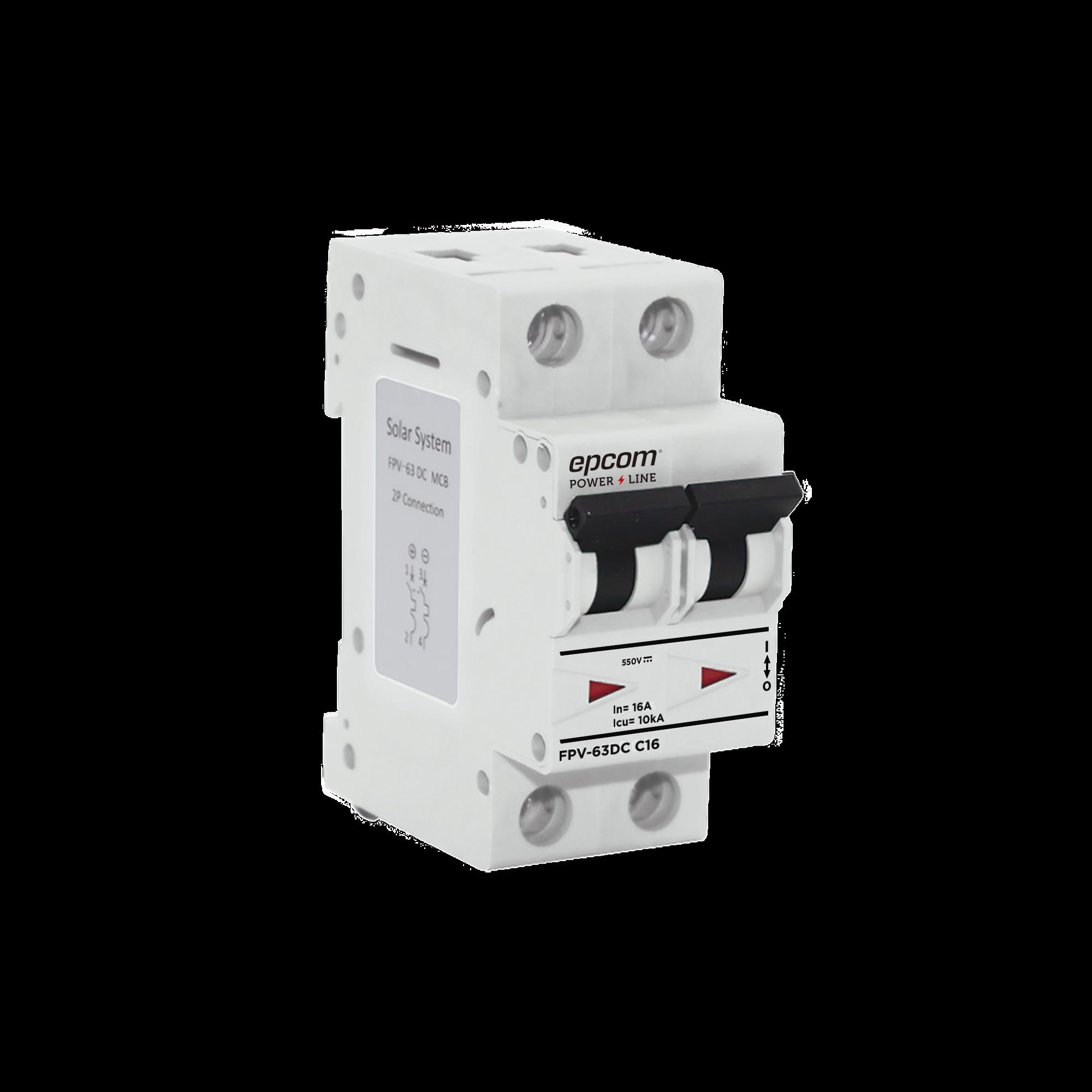 Protección Térmica 2P, 16A,  Corriente Directa  800 Vcd para Aplicación Fotovoltaica Montaje Riel DIN