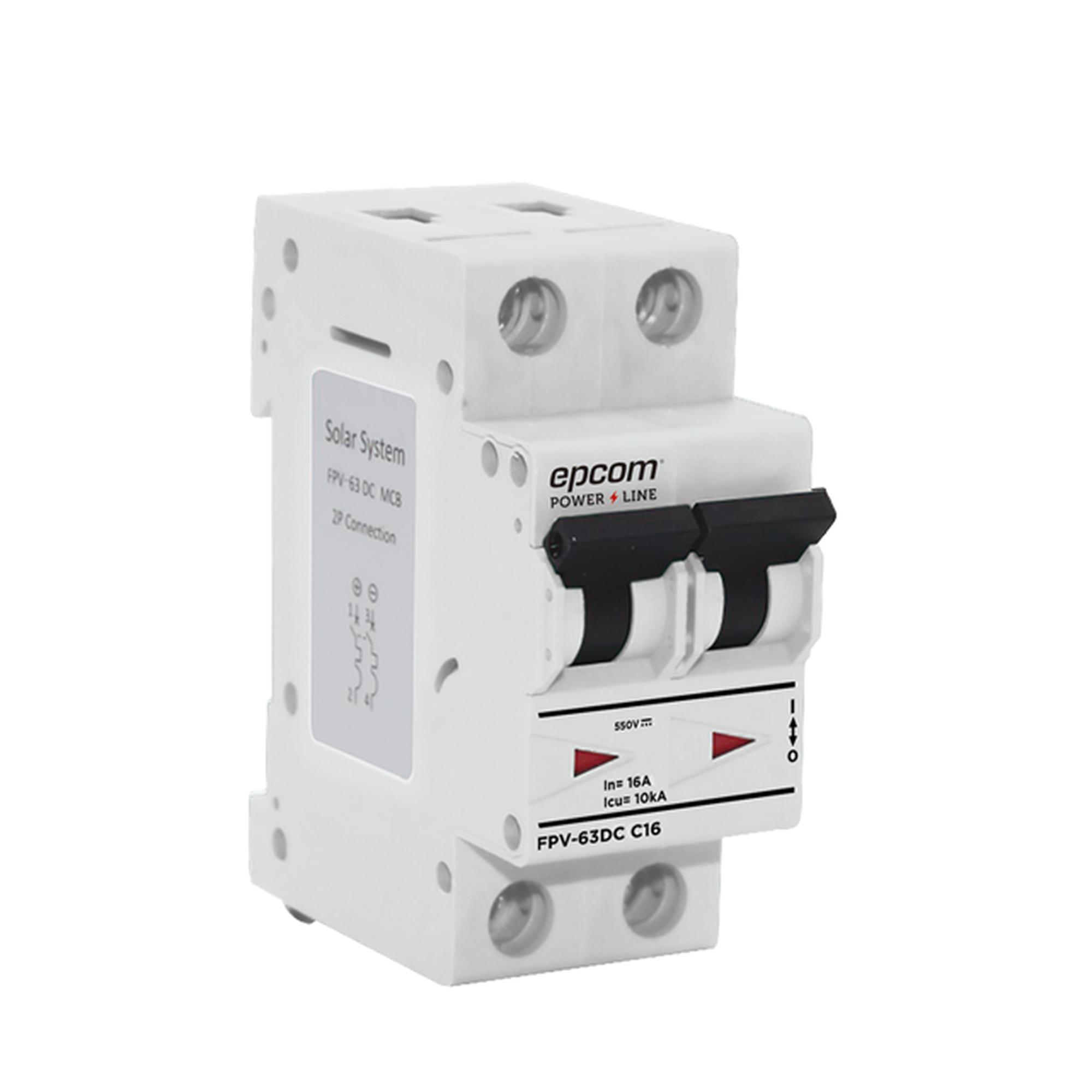 Térmica 2P,  63 A,  Corriente Directa  800 Vcd para Aplicación Fotovoltaica Montaje Riel DIN
