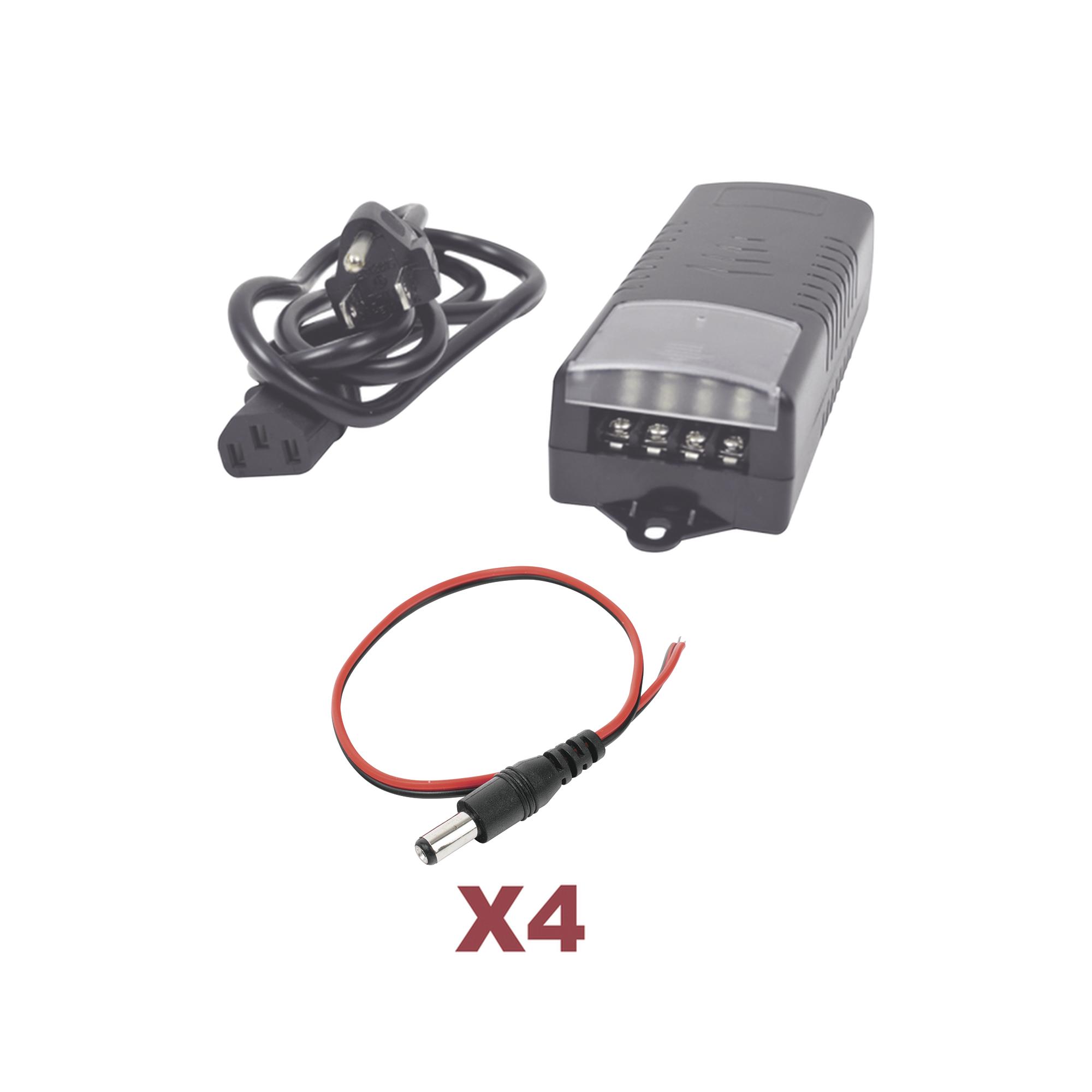 Kit con fuente EPCOM con salida de 12 Vcd a 5 Amper con 4 salidas / Incluye conectores