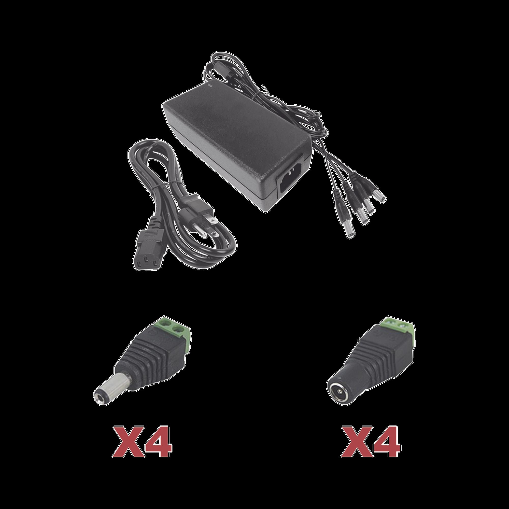 Kit con fuente EPCOM POWER LINE con salida de 12 Vcd a 5 Amper con 4 salidas / Incluye conectores JR52 y JR53