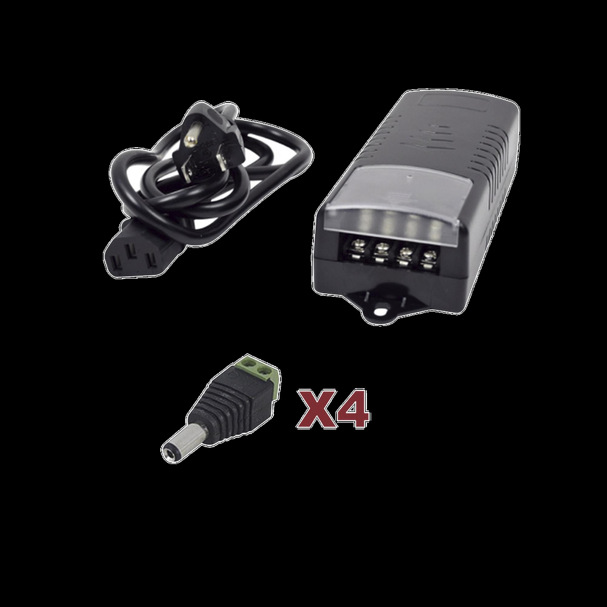 Kit con fuente EPCOM con salida de 12 Vcd a 5 Amper con 4 salidas / Incluye conectores JR52 y JR53