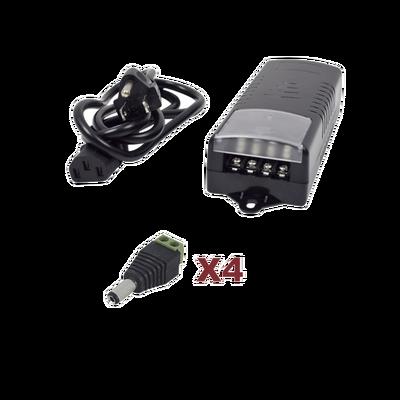 Kit con fuente EPCOM con salida de 12 Vcd a 5 Amper con 4 salidas / Incluye conectores JR52