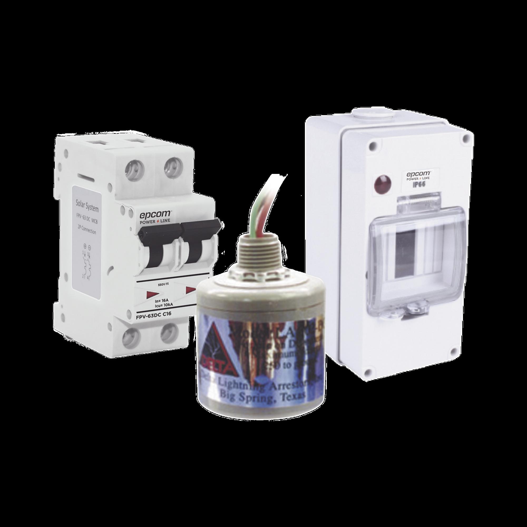 Kit de Centro de Carga Para Corriente Directa, Breaker de hasta  800 Vcd de 16 A con Supresor de Descargas Atmosféricas.
