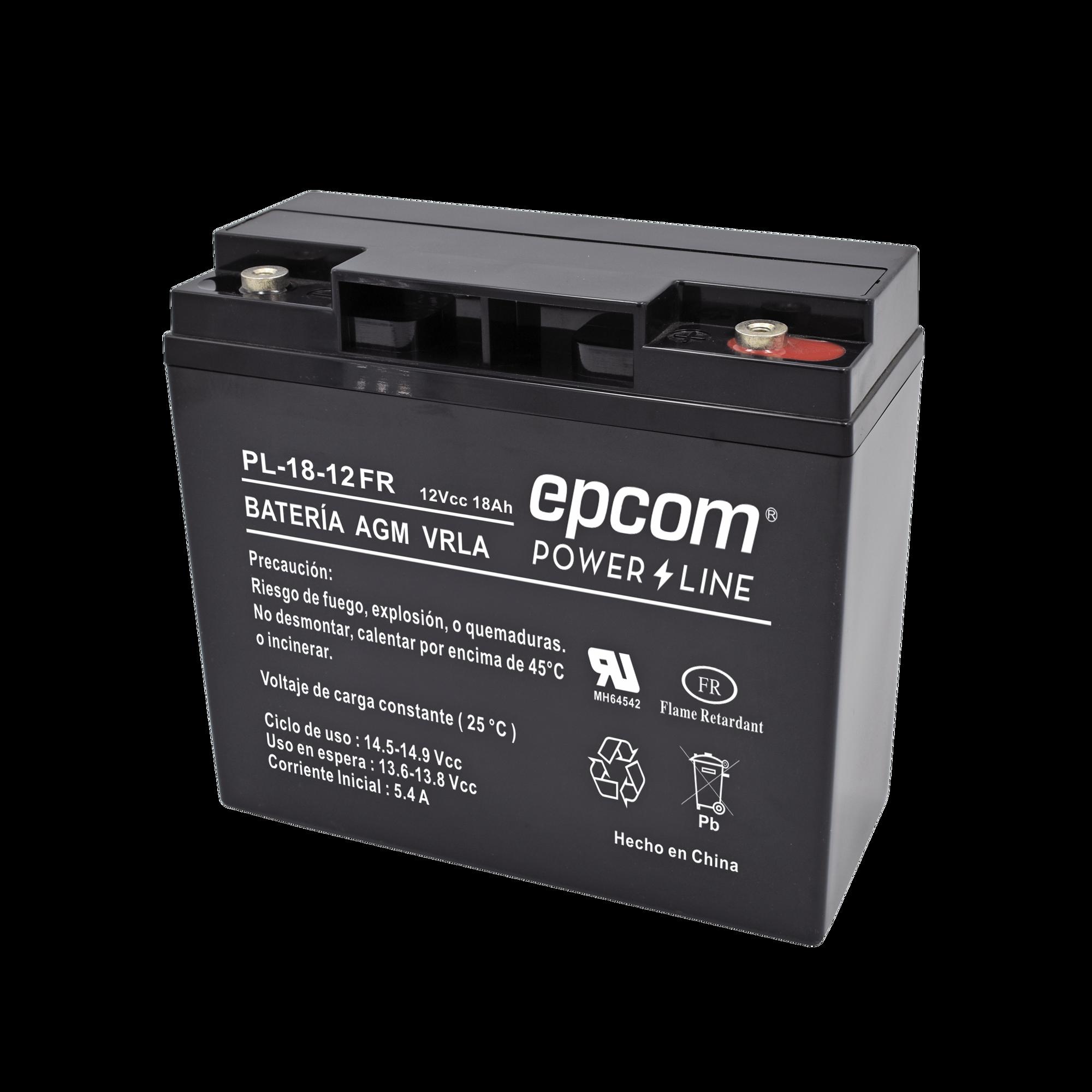 Batería con Tecnología AGM / VRLA, 12 Vcd, 18 Ah. terminal de tornillo HEX ( RETARDANTE A LA FLAMA)