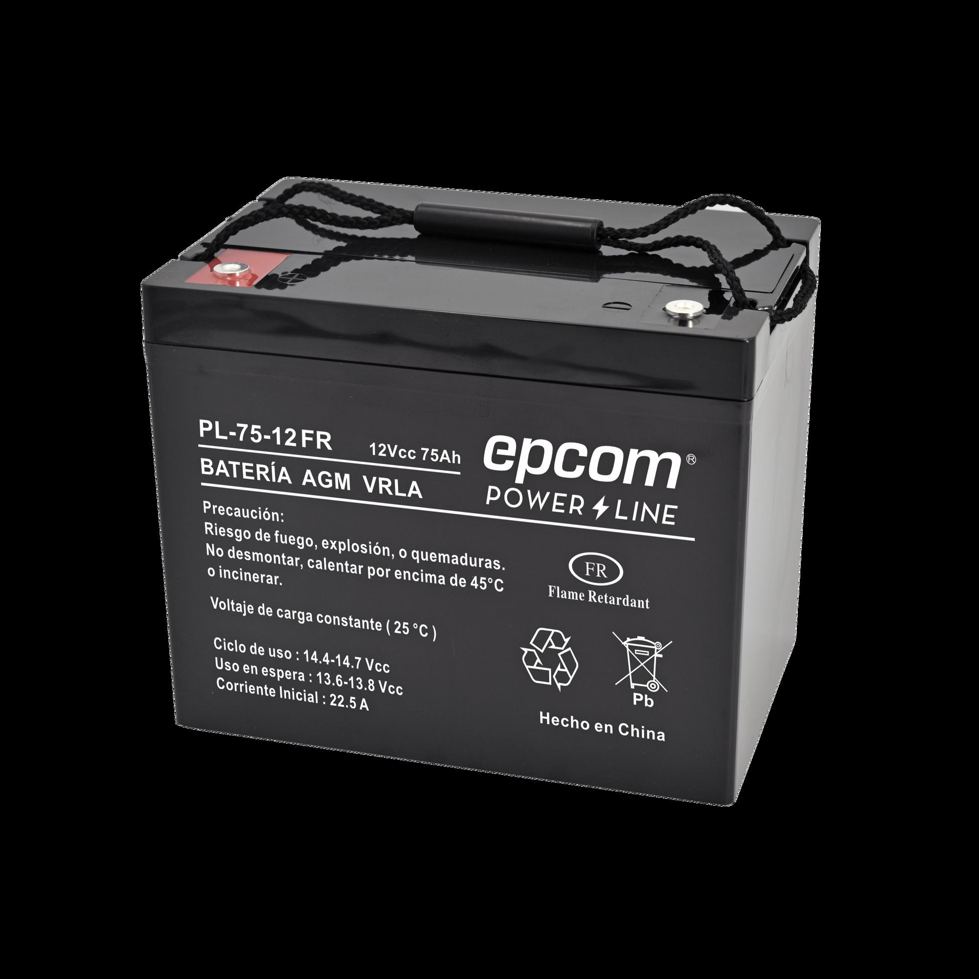 Batería de ciclo profundo AGM/VRLA 12Vcc; 75 Ah, UL, CON RETARDO A LA FLAMA