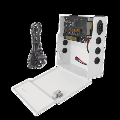 Fuente de poder profesional de 12 Vcc @ 4 A / para 4 cámaras / Compatibilidad con batería de respaldo / Voltaje de entrada 96-264 Vca