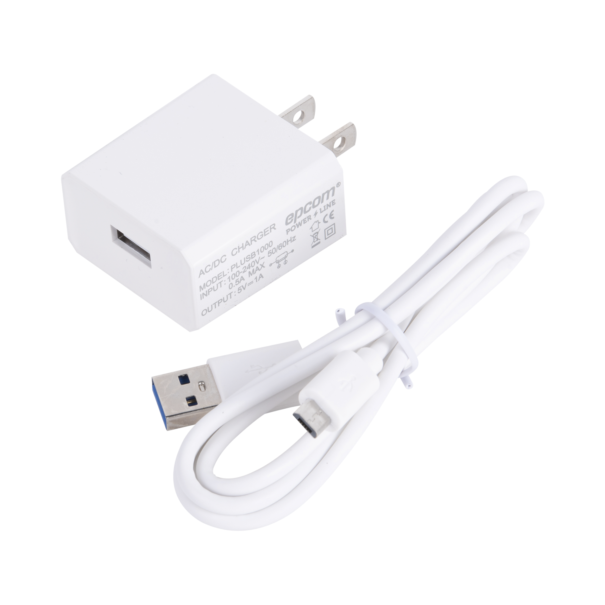 Cargador USB profesional de 1 Puerto, de 5 Vcc, 1 Amper Para Smartphones y Tablets; Voltaje de entrada de 100-240 Vca