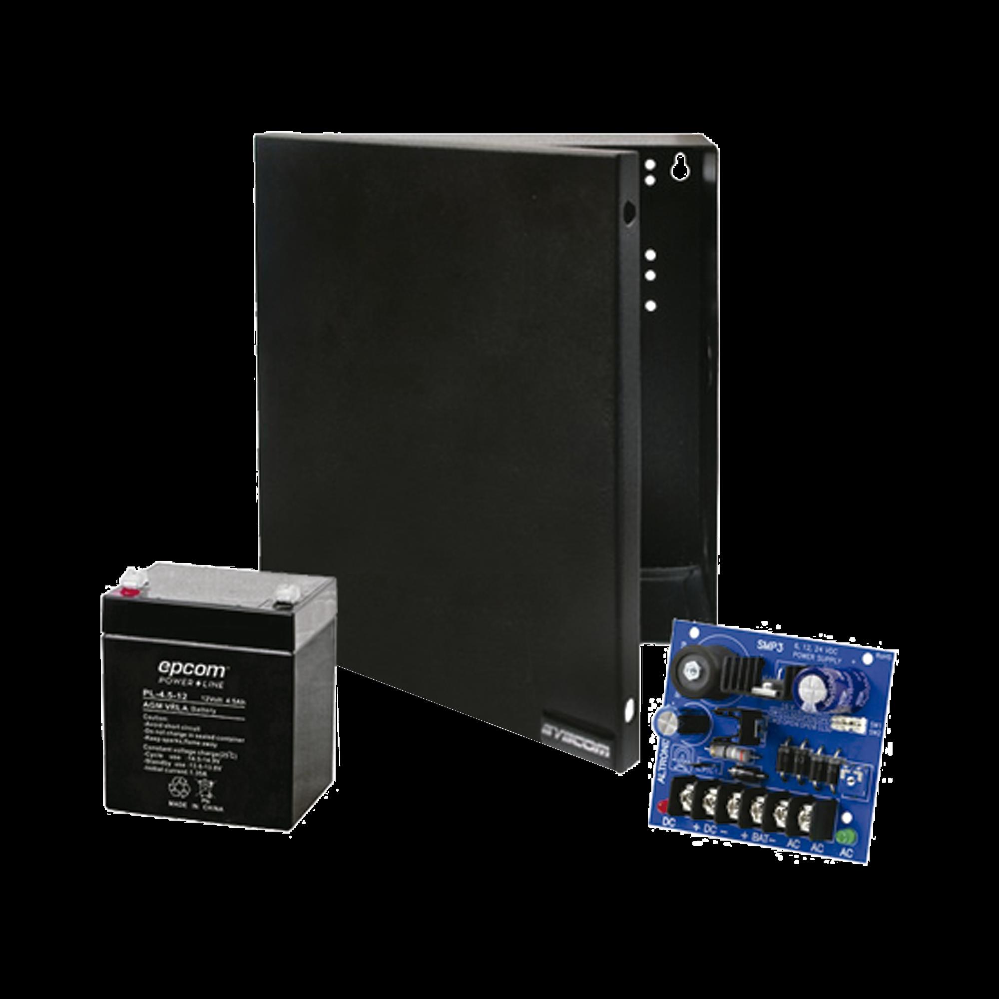 Kit con fuente ALTRONIX con salida de 12 Vcd a 2.5 Amper, batería de 4.5 Amper