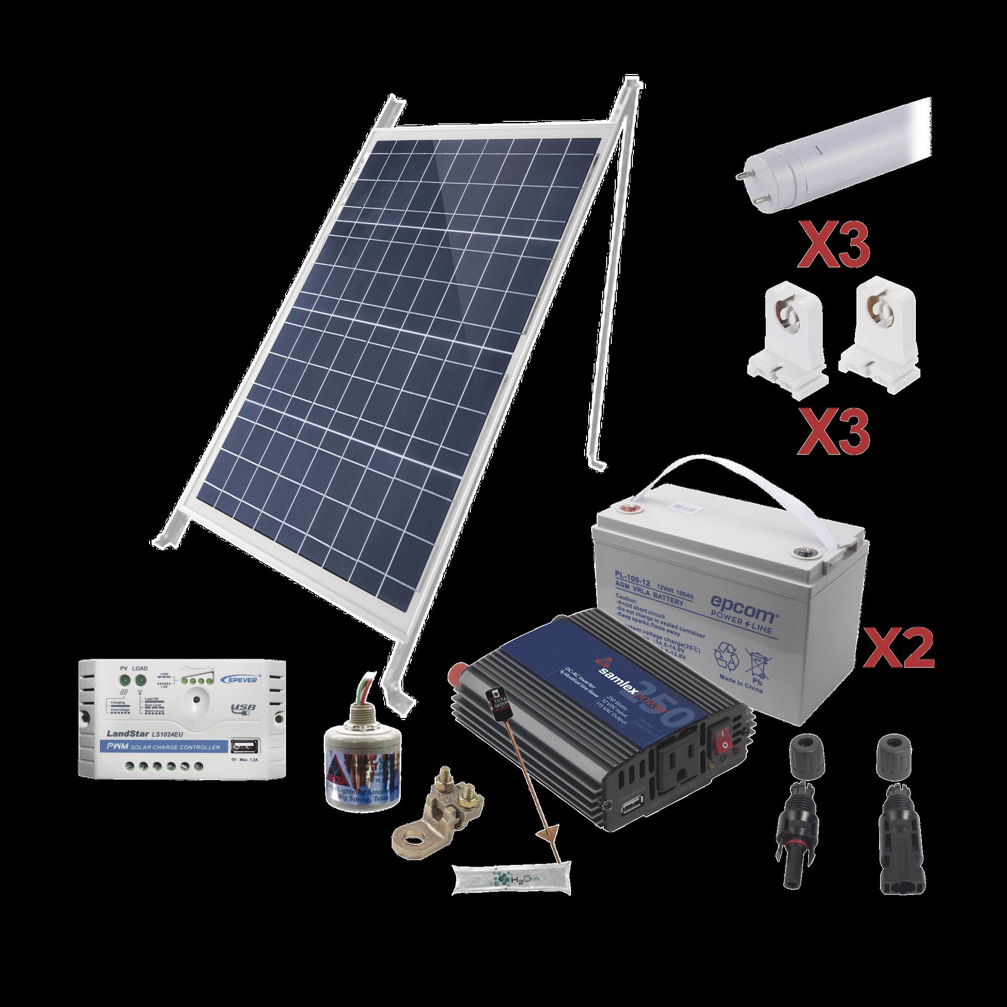 Kit Solar Para Iluminacion Básica en Zonas Rurales, 3 Tubos Led