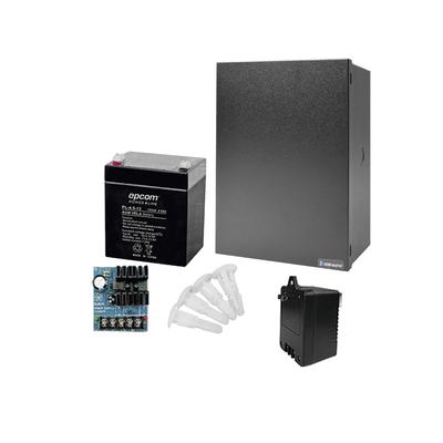 Kit con Fuente ALTRONIX ( AL624 ) con salida  de 12 Vcd a 0.75 Amper, incluye transformador y batería de 4.5 Amper
