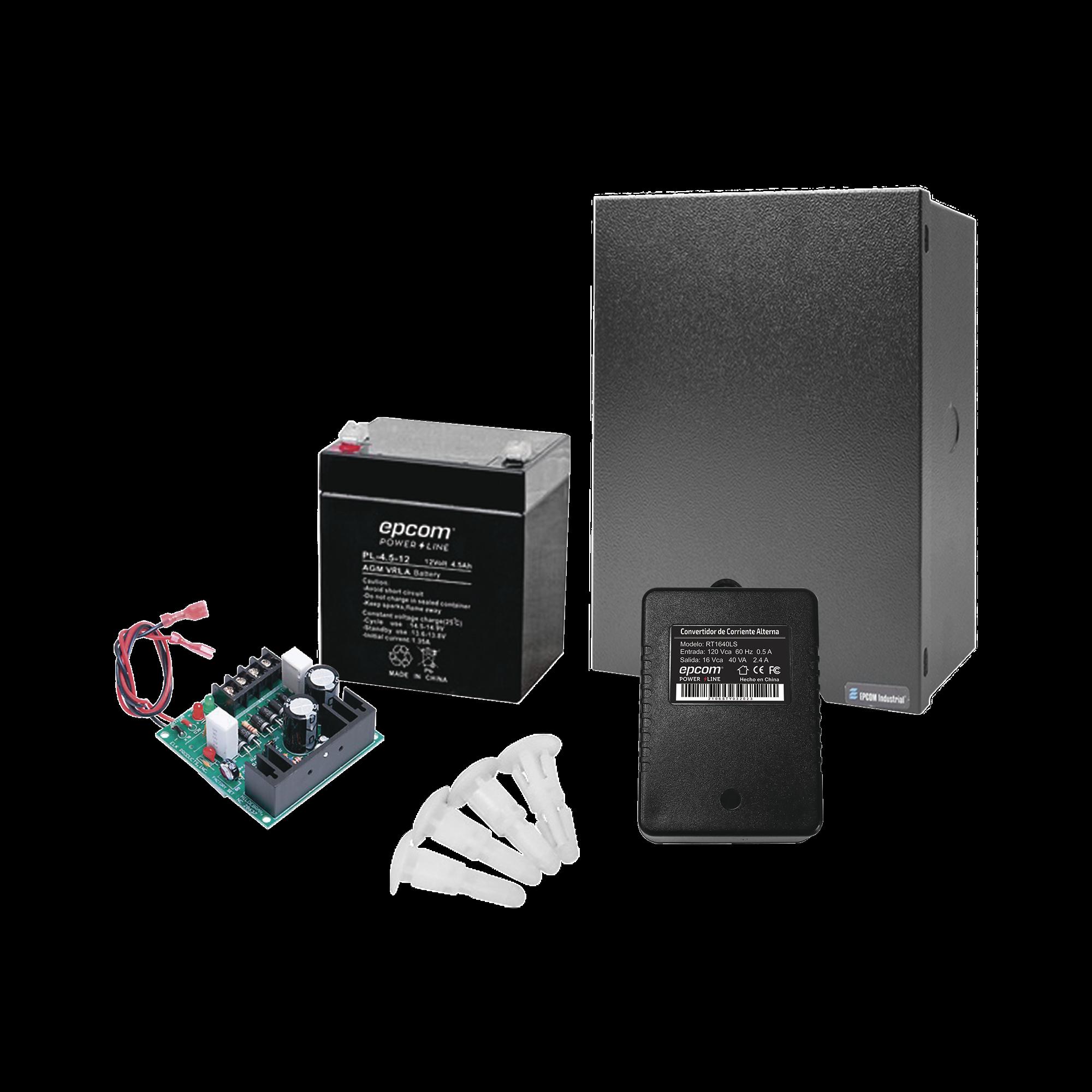 Kit con Fuente  ELK Products ( ELK624 ) con salida de 12 Vcd a 1 Amper, incluye transformador y batería de 4.5 Amper