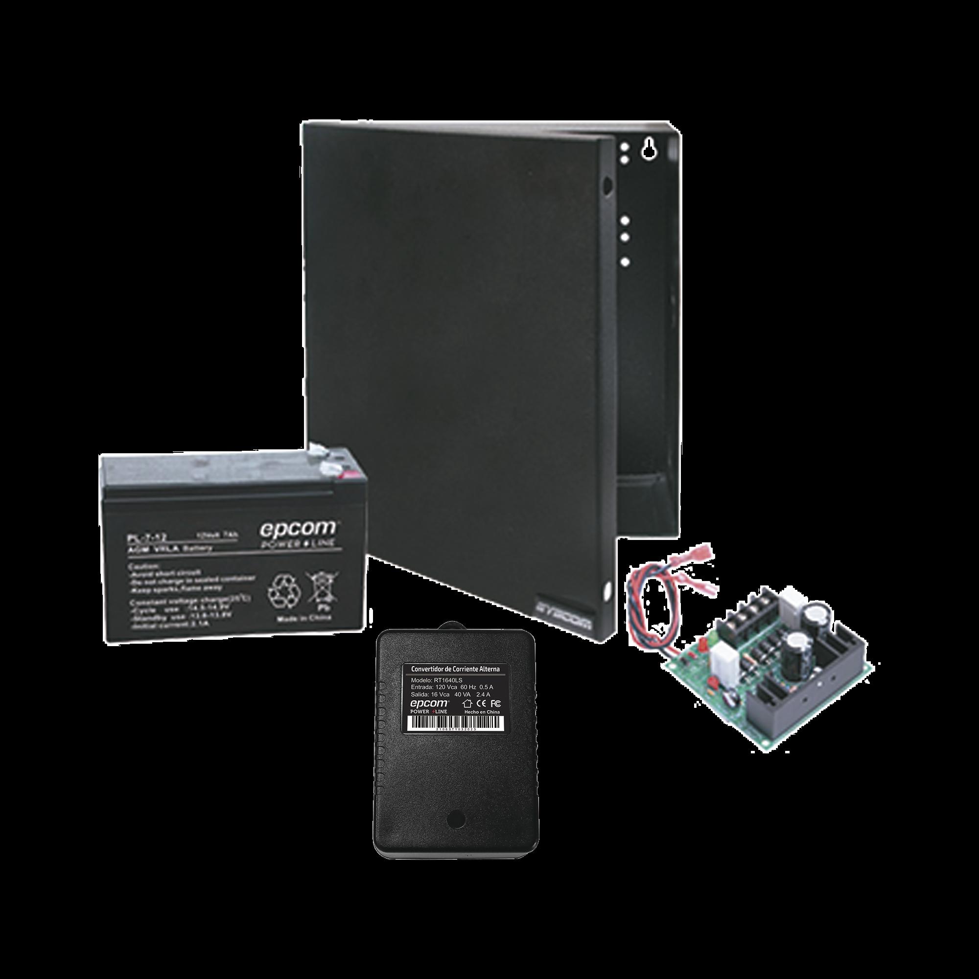 Kit con fuente ELK Products ( ELK624 ) con salida de 12 Vcd a 1 Amper, incluye transformador y batería de 7 Amper