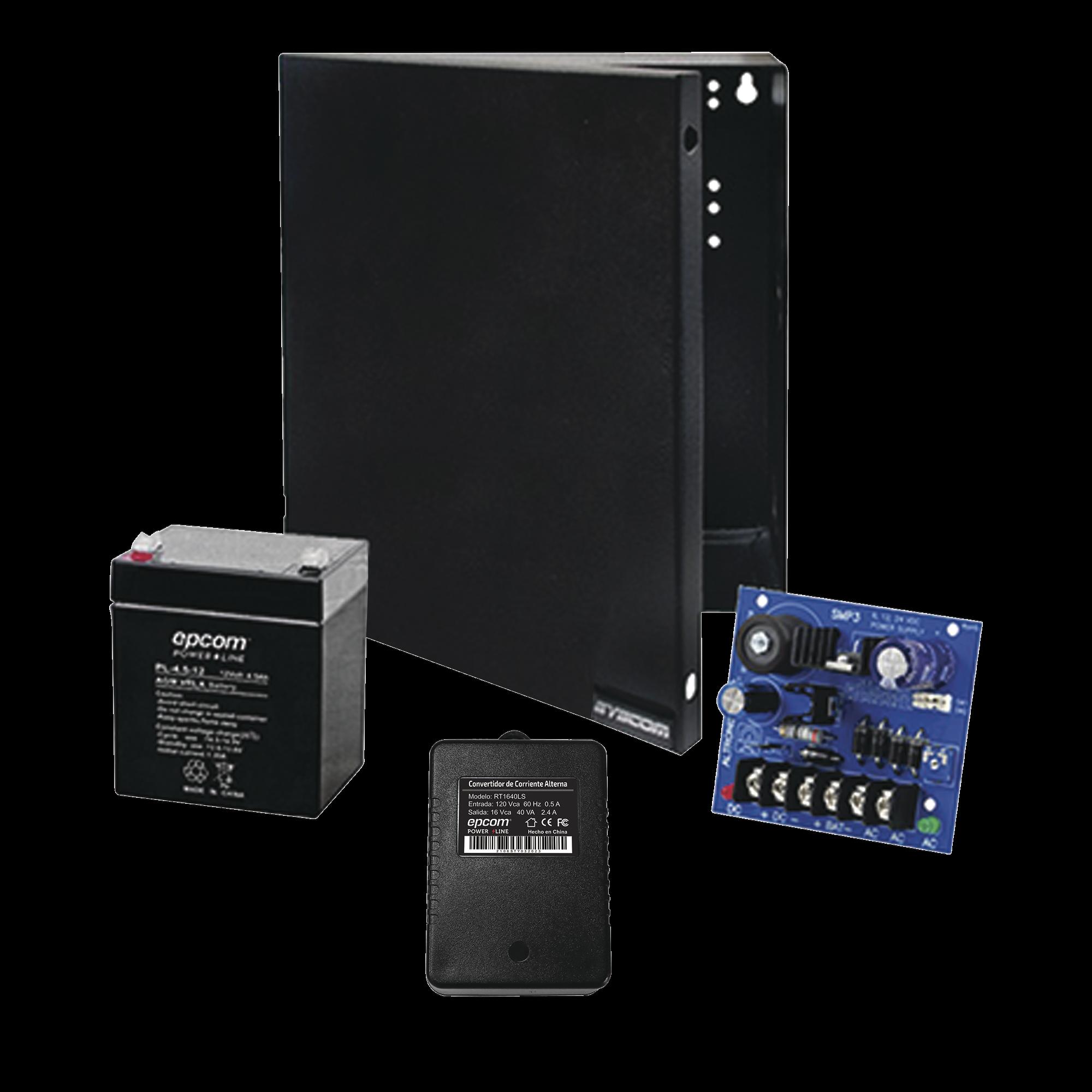 Kit con fuente ALTRONIX con salida de 12 Vcd a 2.5 Amper, incluye transformador y bateria de 4.5 Amper