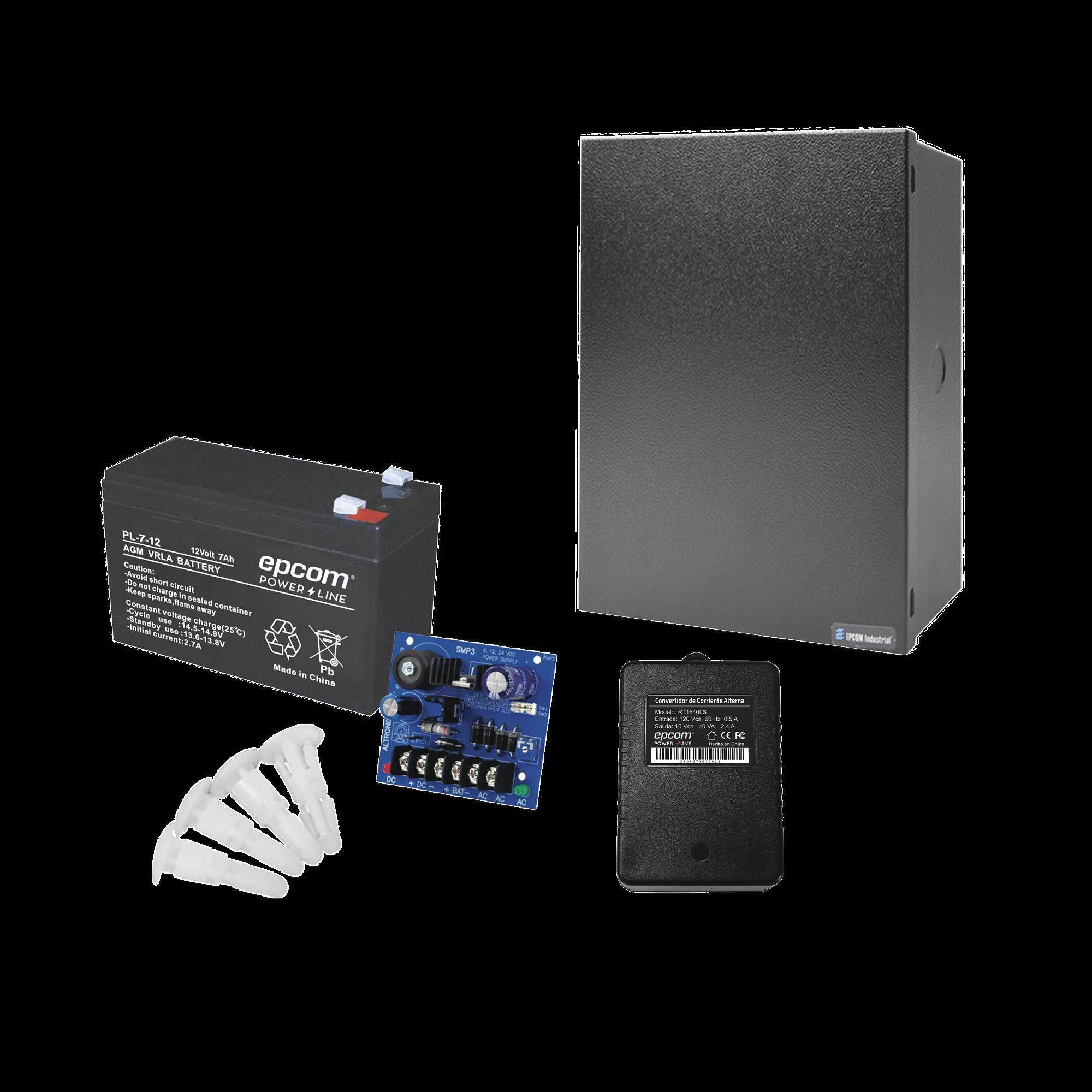 Kit de fuente de poder ALTRONIX ( SMP3 ) , incluye transformador y bateria de  7 Ah