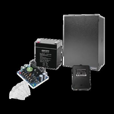 Kit con fuente ALTRONIX de 12 Vcd a 4 Amper, incluye transformador y batería de 4.5 Amper