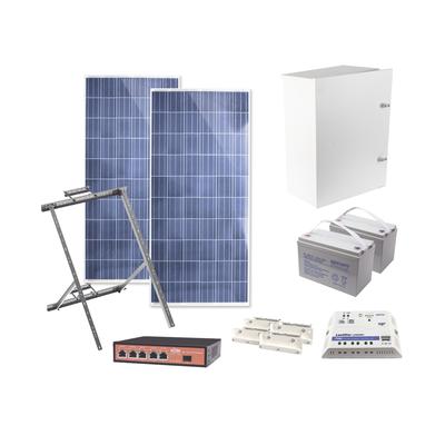 Kit Solar Witek de 28 W con 5 Puertos PoE 802.3 af y PoE Pasivo 24 V para Camaras IP y un Enlace Punto a Punto en 24 Vcd