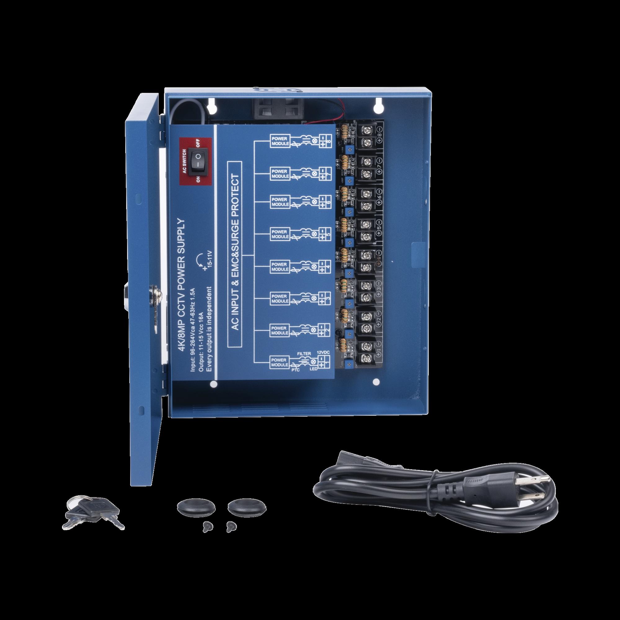 Fuente de poder profesional HEAVY DUTY de 11 - 15 Vcd @ 16 Amper, para hasta 8 cámaras, con voltaje de entrada de: 110-220 Vca / Compatible con cámaras 4K