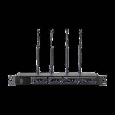 Receptor UHF para 4 micrófonos inalámbricos / Pantalla LCD de cristal liquido
