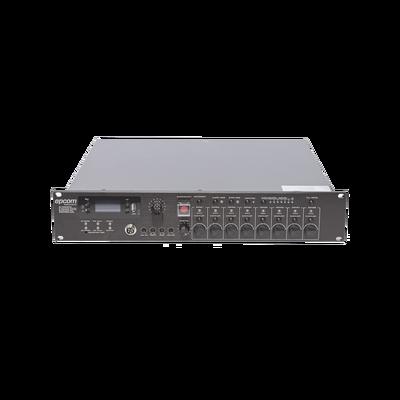 Controlador de Evacuación Por Voz | 500 W | 8 Zonas independientes | 4 entradas de audio y 2 entradas de micrófono