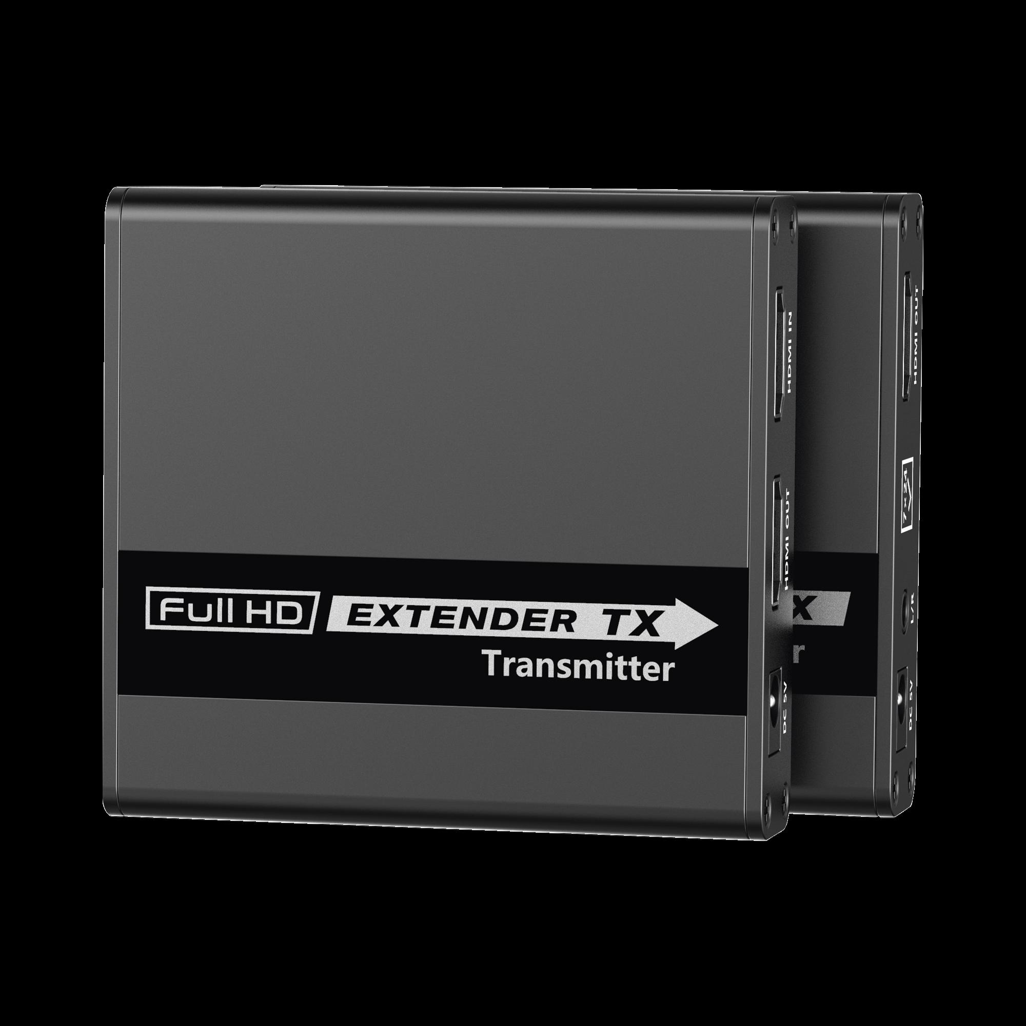 Kit extensor HDMI Full HD , para distancia de 70 metros con cable Cat 6 , Solo una fuente de alimentación en el transmisor, con control IR Bidireccional, 1080 p @ 60 Hz , compatible con HDCP.