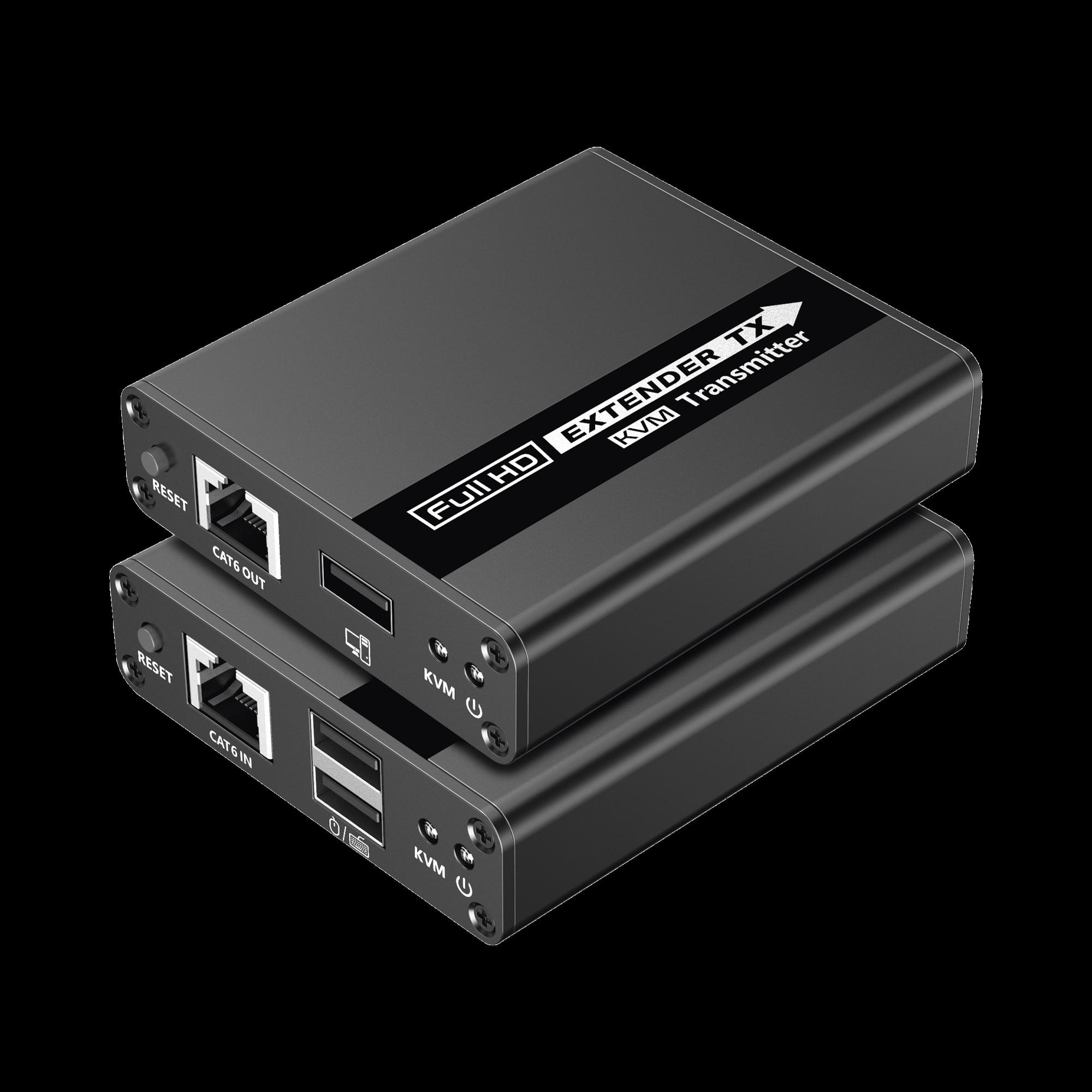 Kit extensor KVM (Teclado, Video, Mouse), punto a punto @ 70 Metros, 1080P @ 60 Hz, HDR, Latencia Cero. CAT6/6A/7