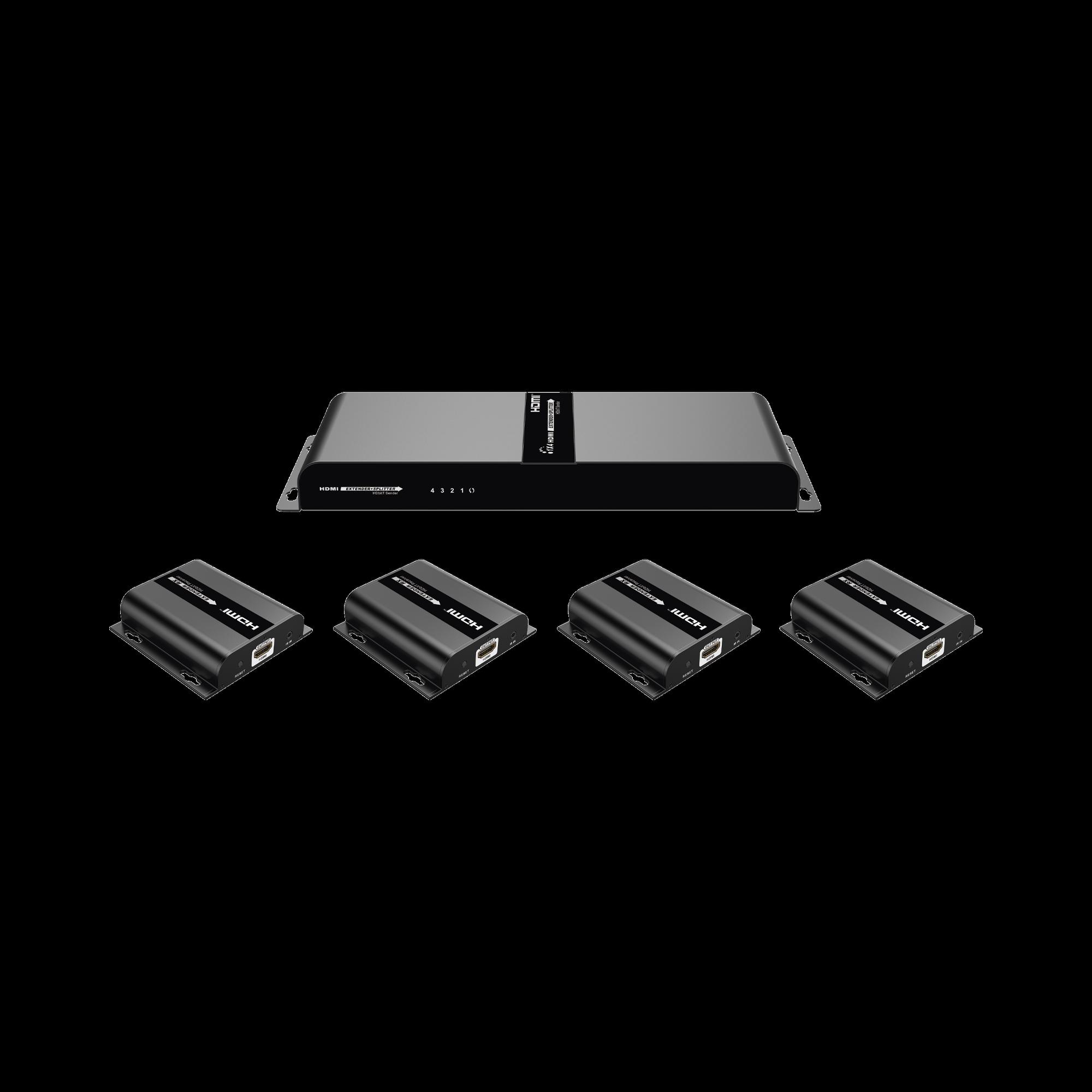Kit @ 1080p, Divisor HDMI ; 1 X 4 sobre cable CAT6 hasta 120 Metros, con IR