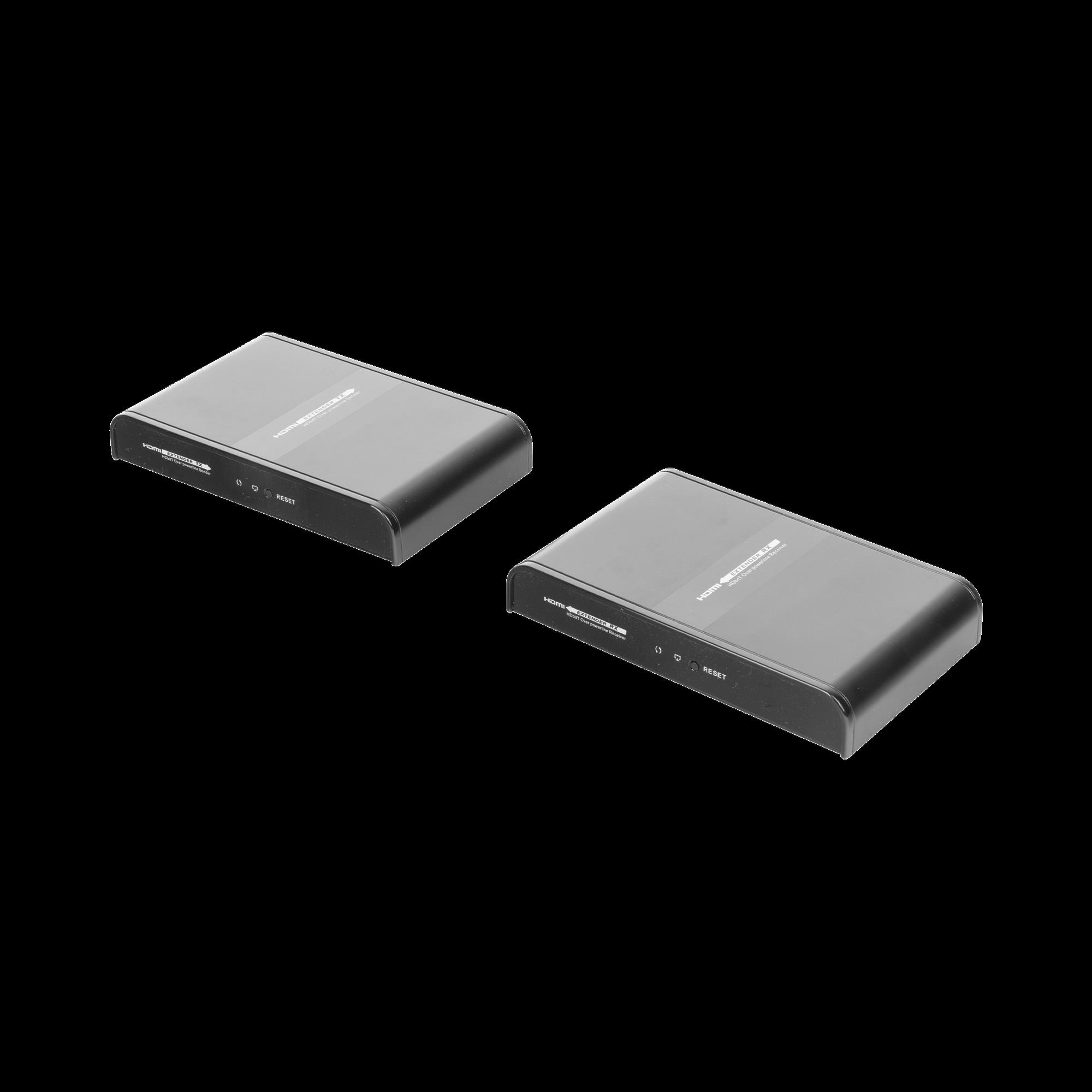 Kit extensor HDMI sobre Powerline con loop HDbitT, protocolo HDbitT, compatible con HDCP. Distancia de transmisión hasta 300 metros.