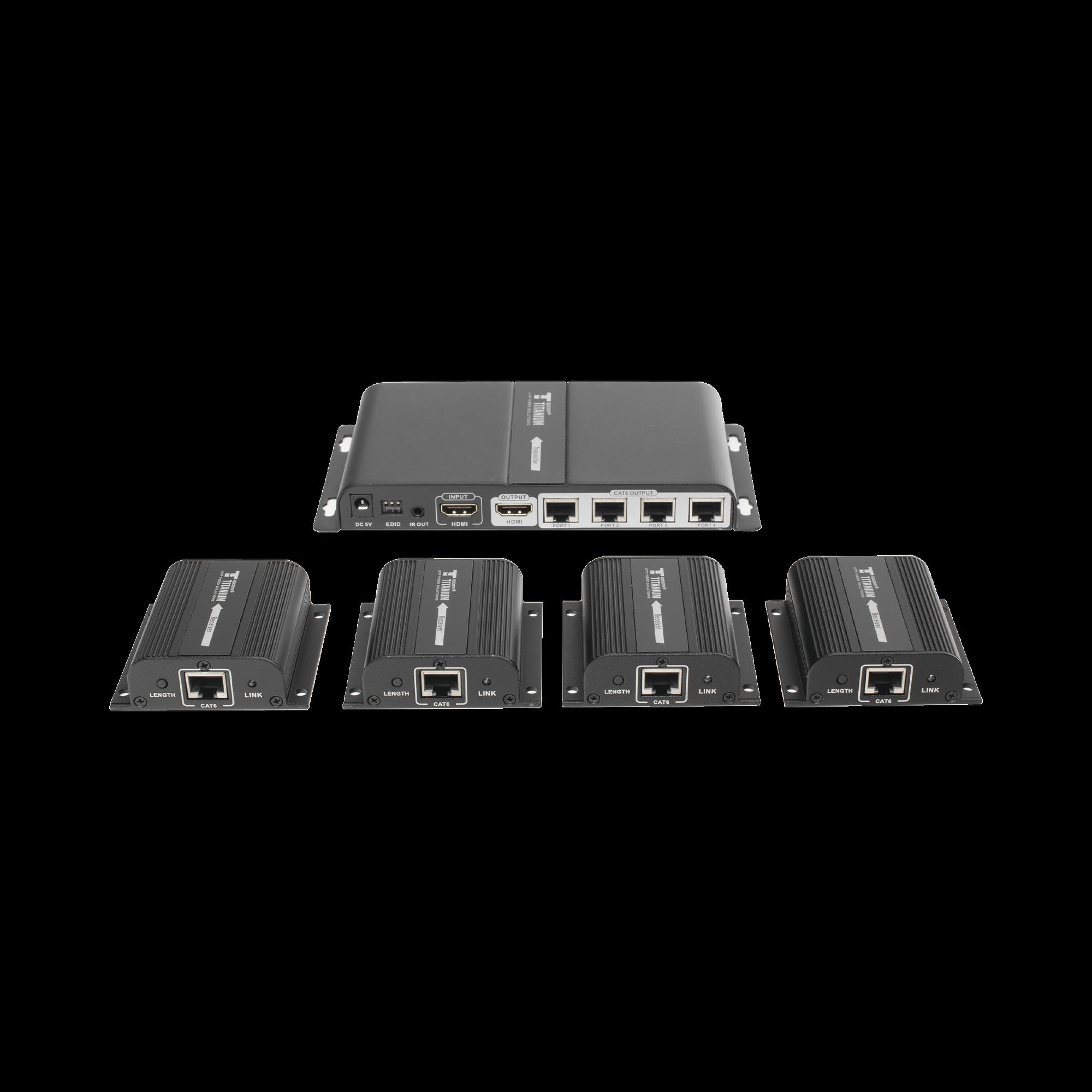 Kit de distribuidor HDMI de 1 Fuente HDMI a 4 Pantallas HDMI @ 1080p distancia de transmisión de hasta 40 m con CAT6 / 6a / 7 cuenta con salida local HDMI y control IR