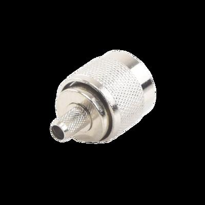 Conector N Macho para 75 Ohm de Anillo Plegable para cable RG-59, Niquel/ Oro /Teflón.