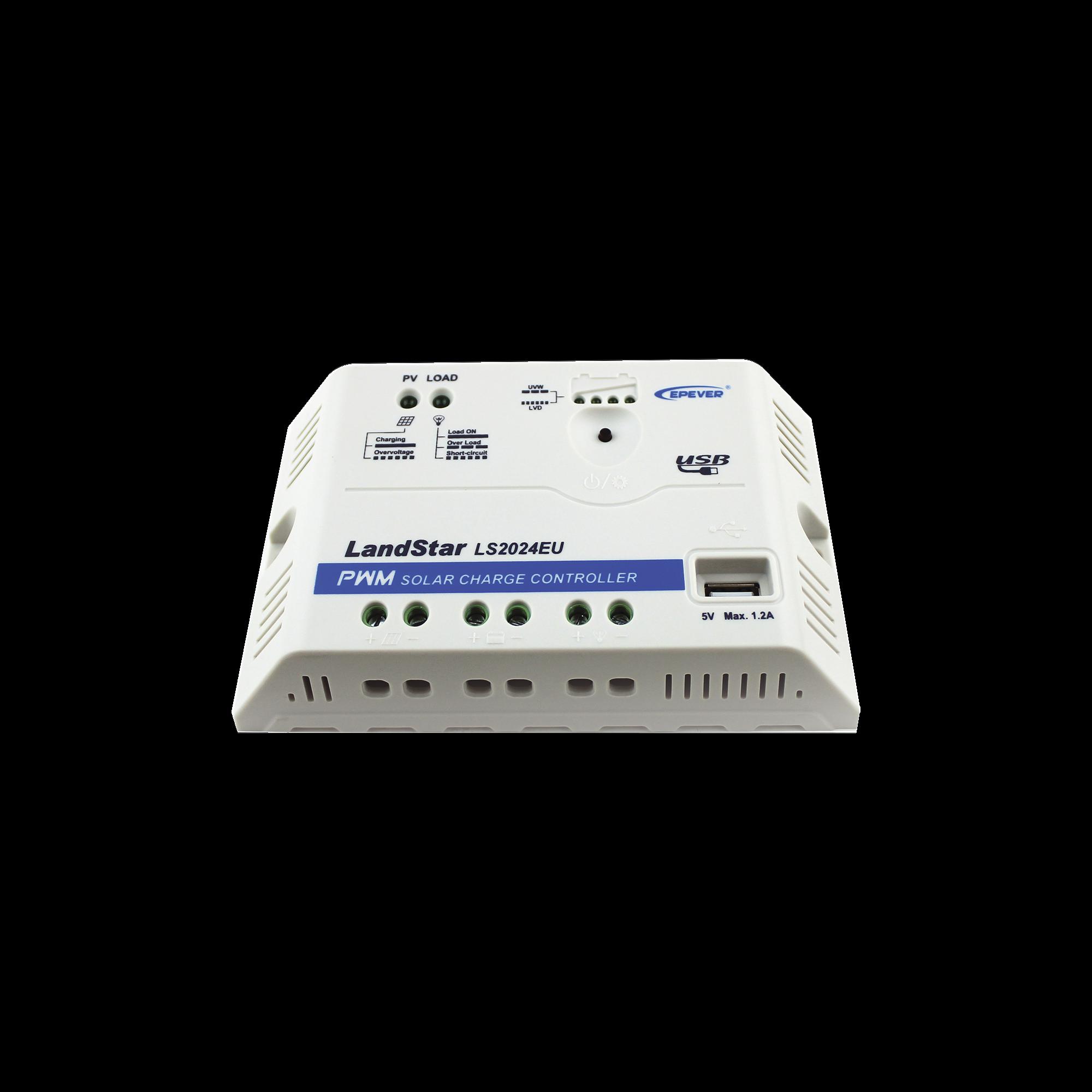 Controlador EPSolar PWM 12/24V 20 A, Salida USB