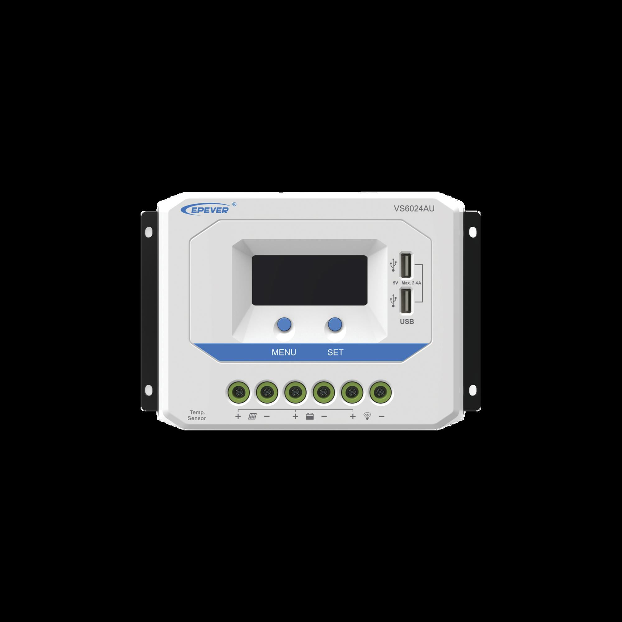 Controlador Solar de Carga PWM 12/24V 60 A, Salida USB